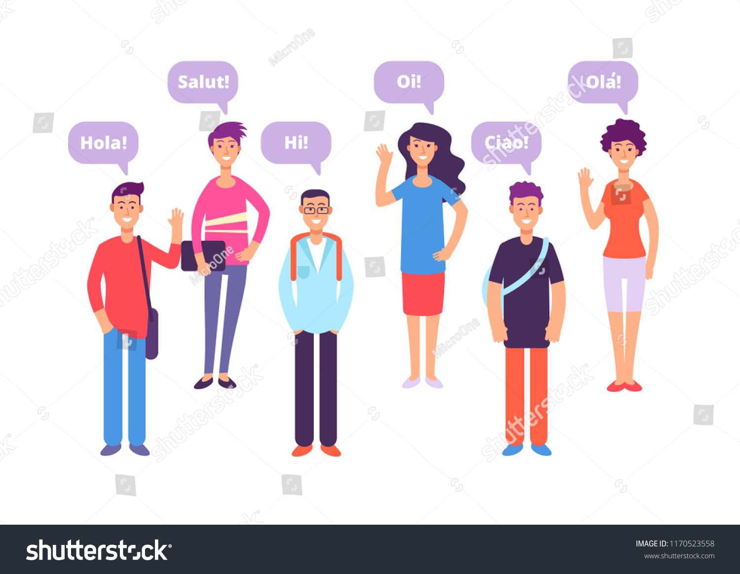 Foreign Language Concept Students Greeting English Stock Vector