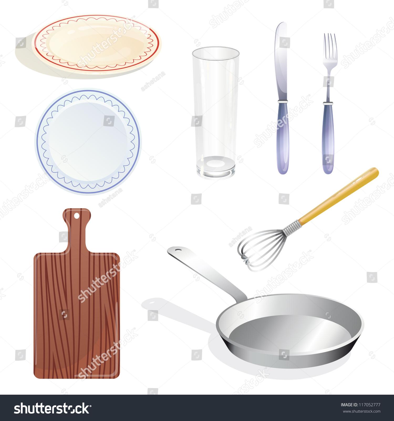 White Kitchen Utensils small set kitchen utensils tableware on stock vector 117052777