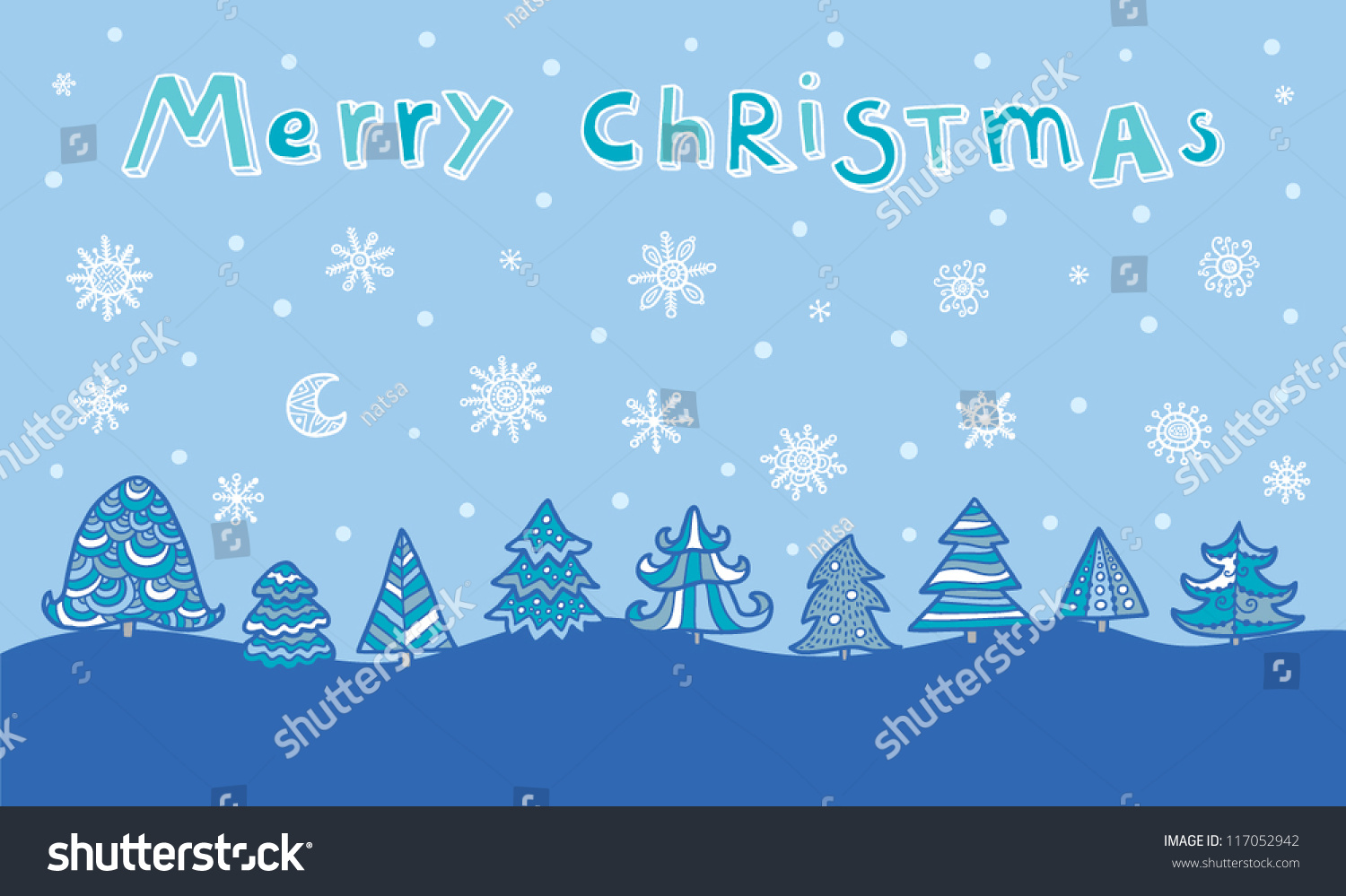 Blue And White Winter Forest Background With Trees