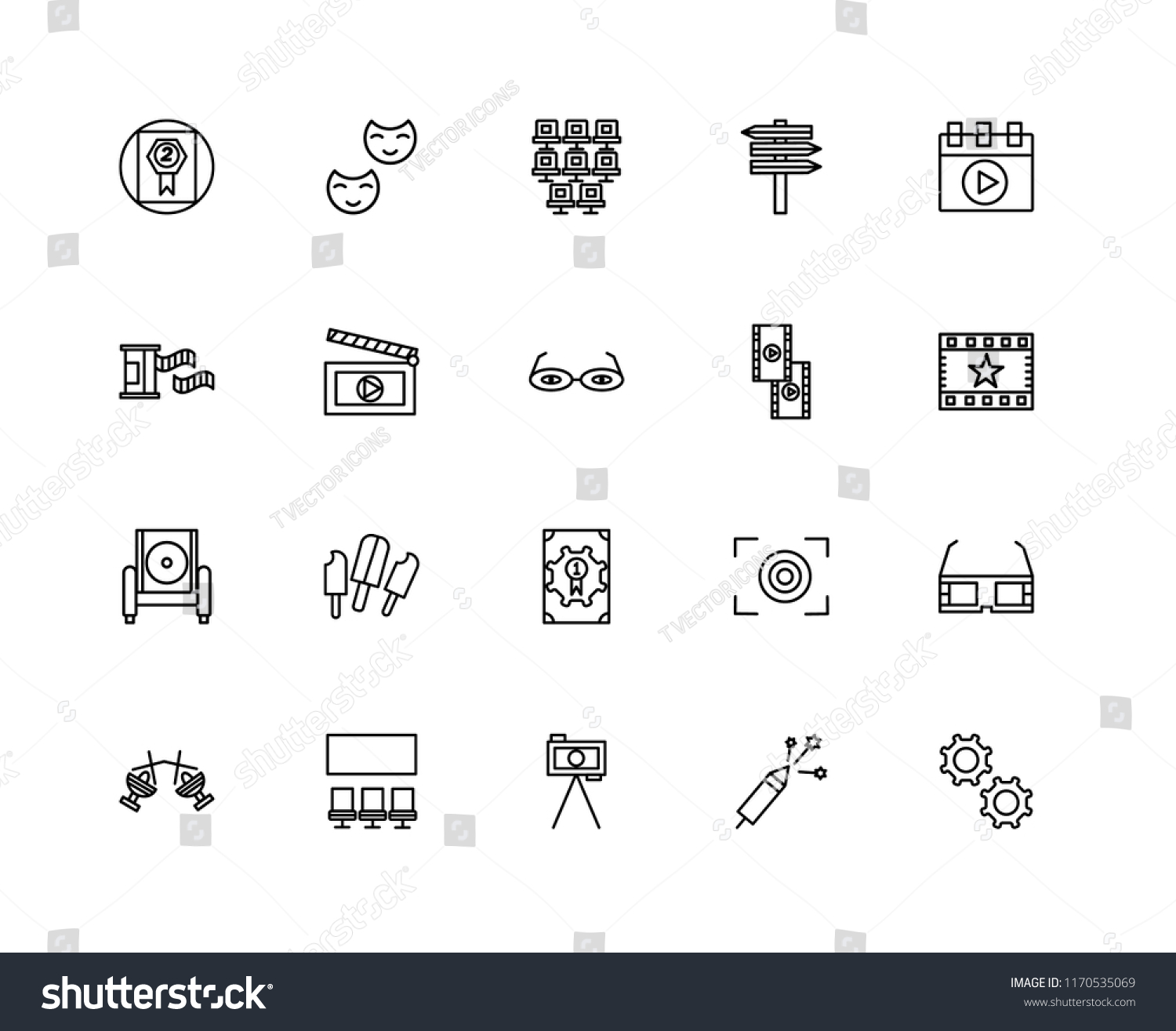 Set 20 Linear Icons Such Settings Stock Vector (Royalty Free