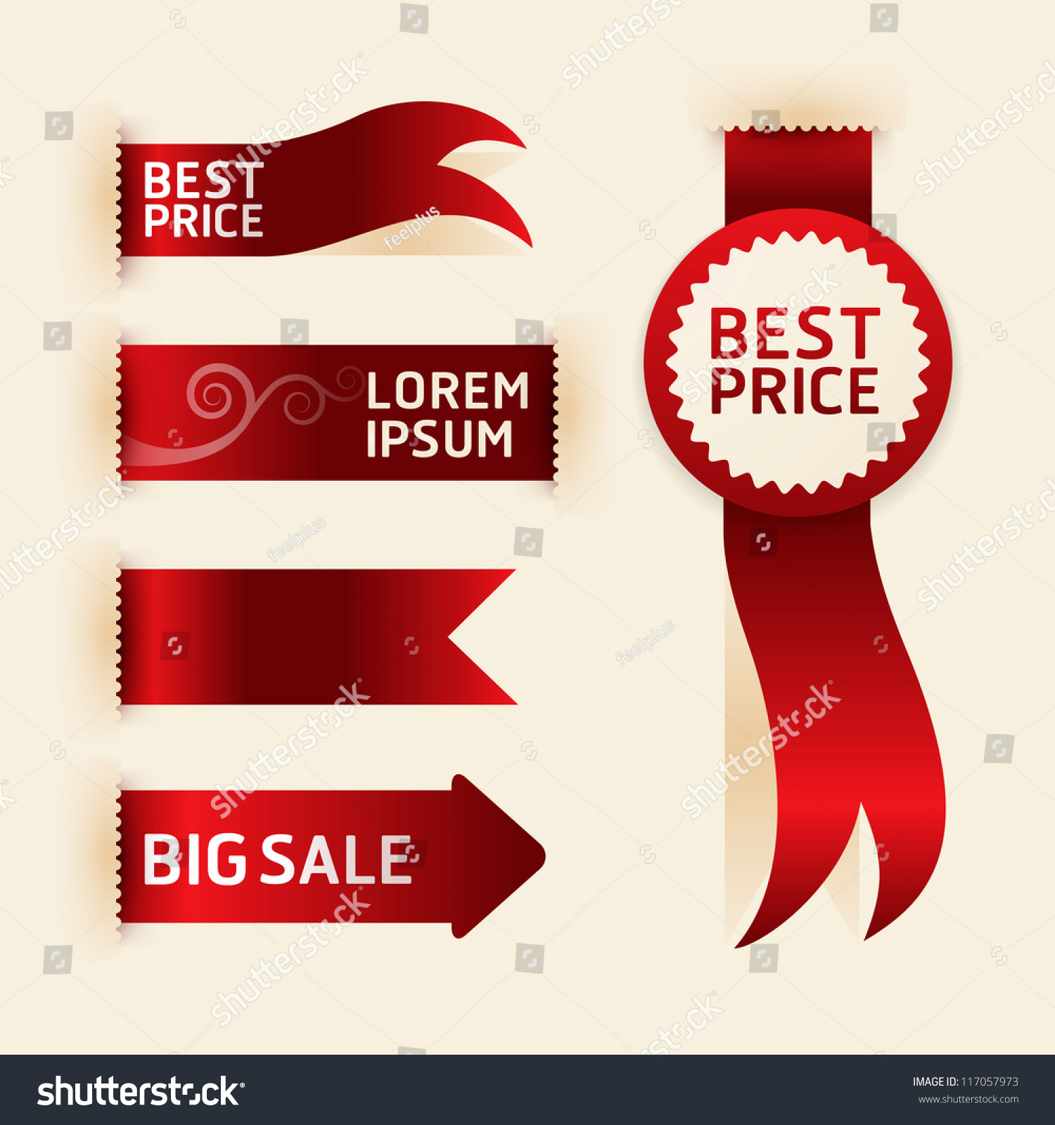 red ribbon promotion products design vector stock vector 117057973
