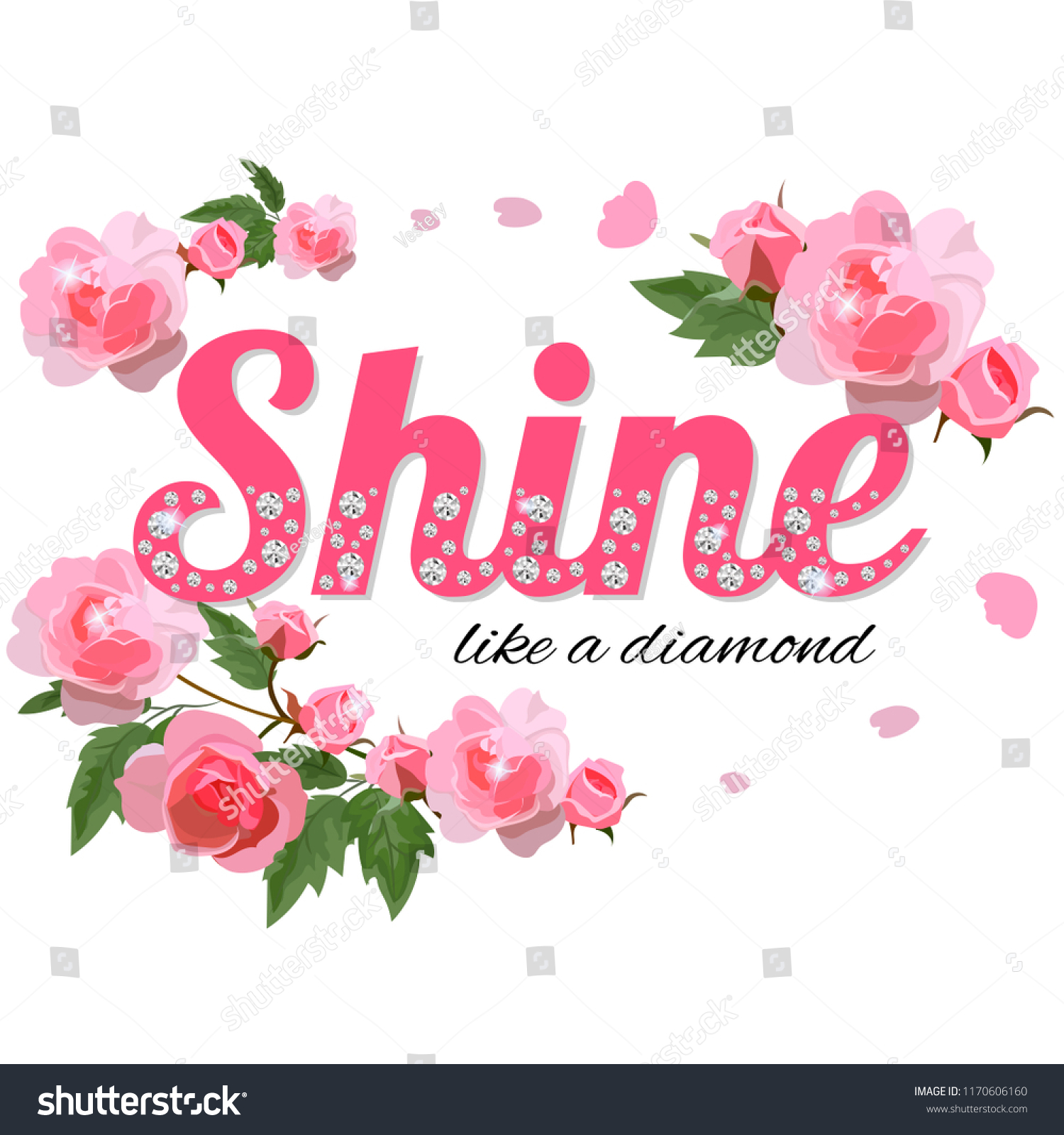 Shine Like Diamond Slogan Rhinestones Branches Stock Vector Royalty
