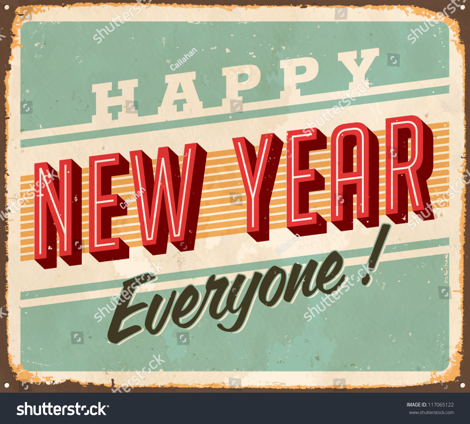 Vintage Metal Sign Happy New Year Stock Vector 117065122 ...
