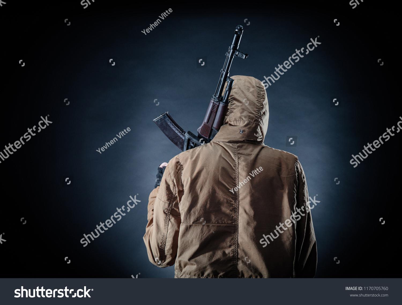 Dangerous Armed Terrorist Mask Machine Gun Stock Photo (Edit Now