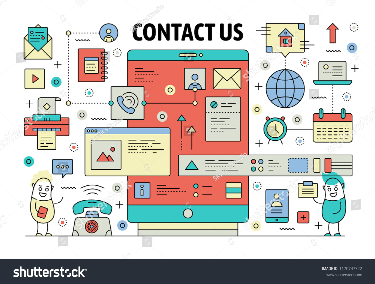 Contact Us Poster Banner Template Vector Stock Vector Royalty Free