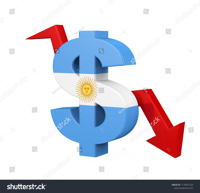 Argentine Peso Symbol Arrow Isolated 3 D Stock Illustration
