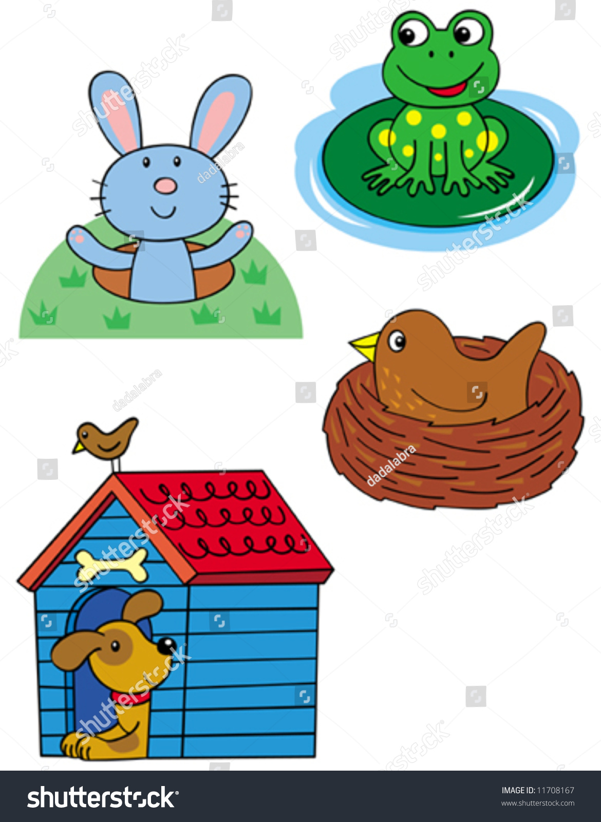 Animal Homes Rabbit Frog Bird Dog Stock Vector 11708167
