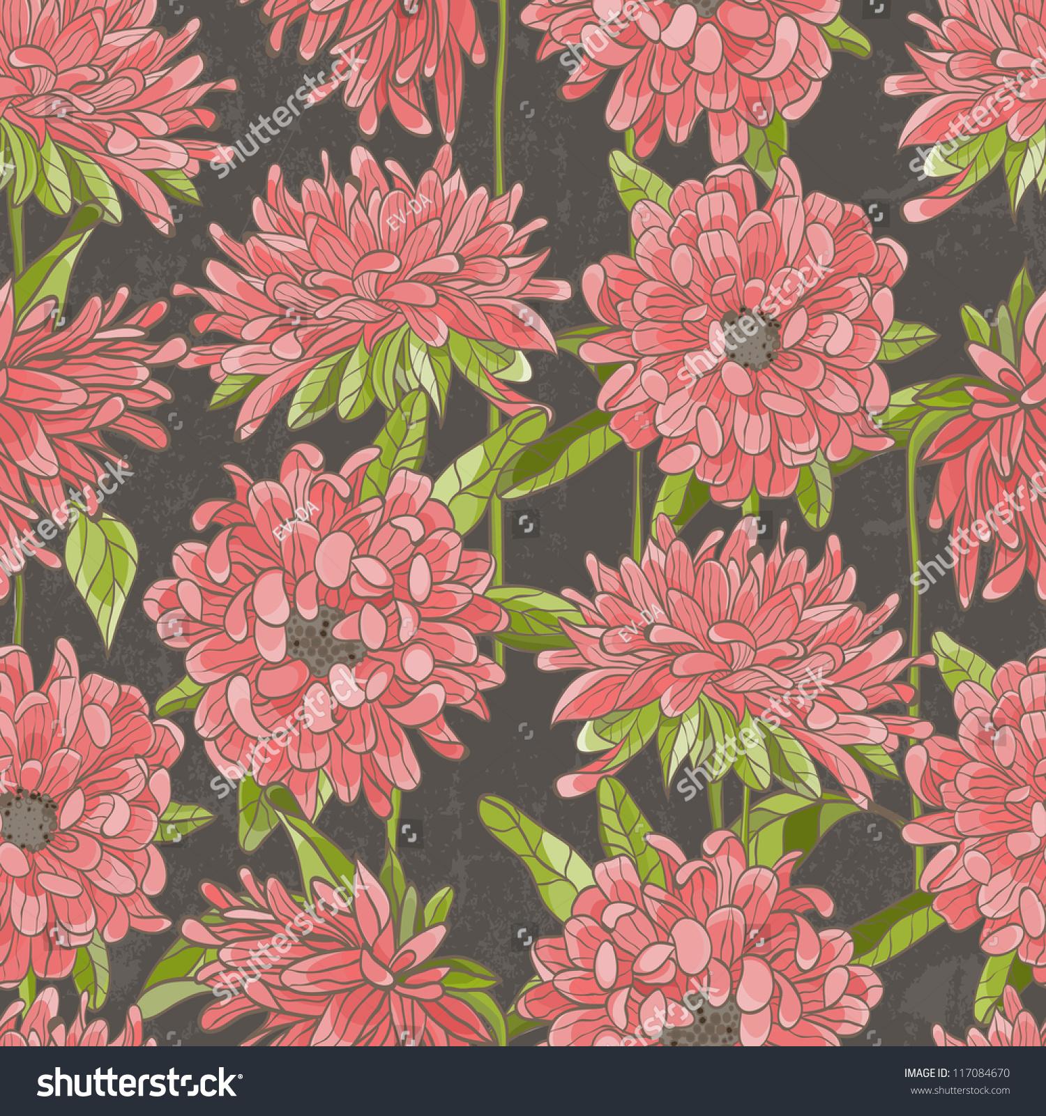 Pink floral seamless vector background floral hrysanthemum seamless - Seamless Floral Pattern With Chrysanthemum Eps 8 Vector Illustration