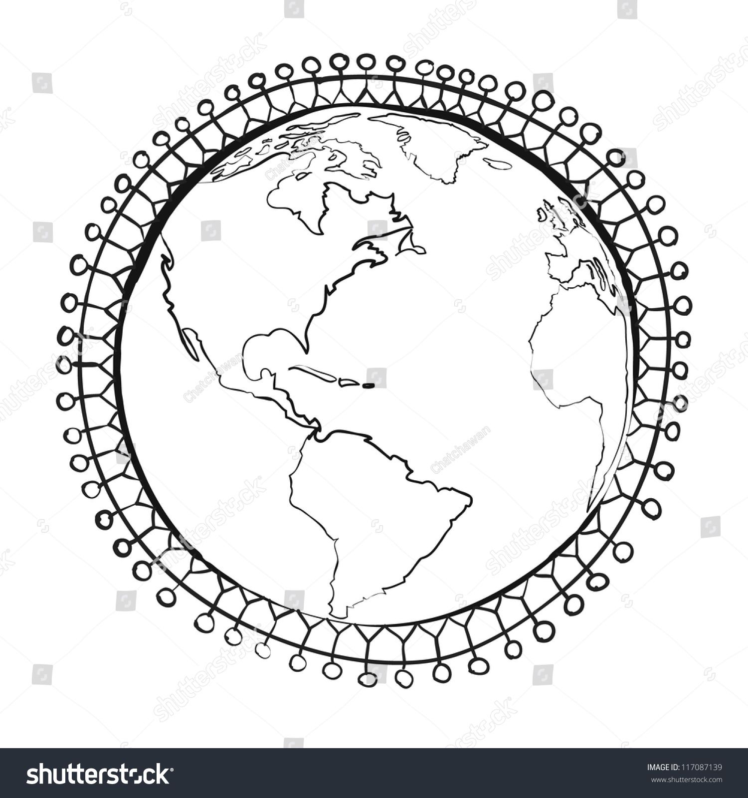 Conceptual symbol multiracial human surrounding earth stock vector conceptual symbol of multiracial human surrounding the earth globe unity world peace humanity biocorpaavc Gallery