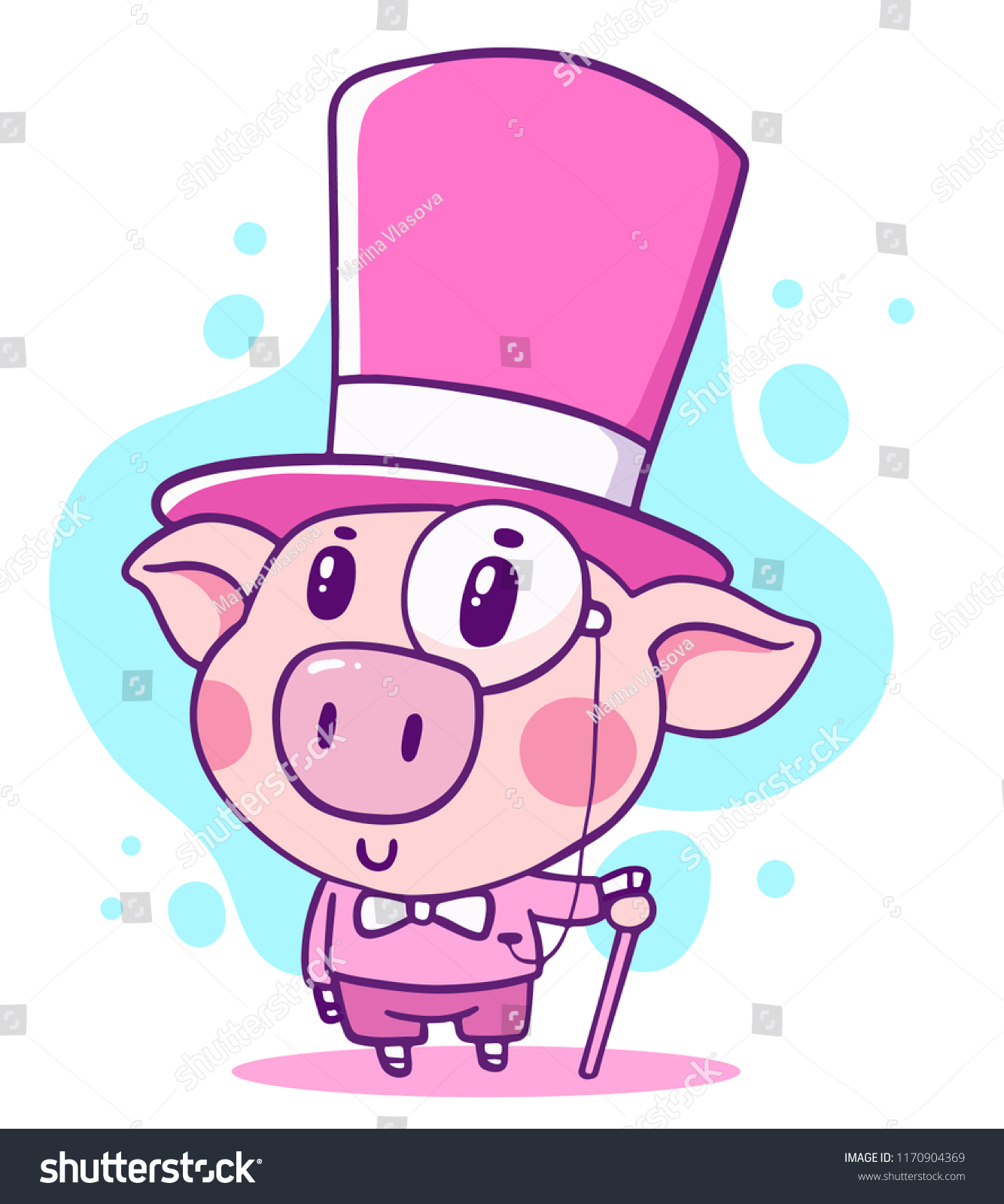 vector illustration of rich noble cartoon piggy in top hat with walking stick hand drawn