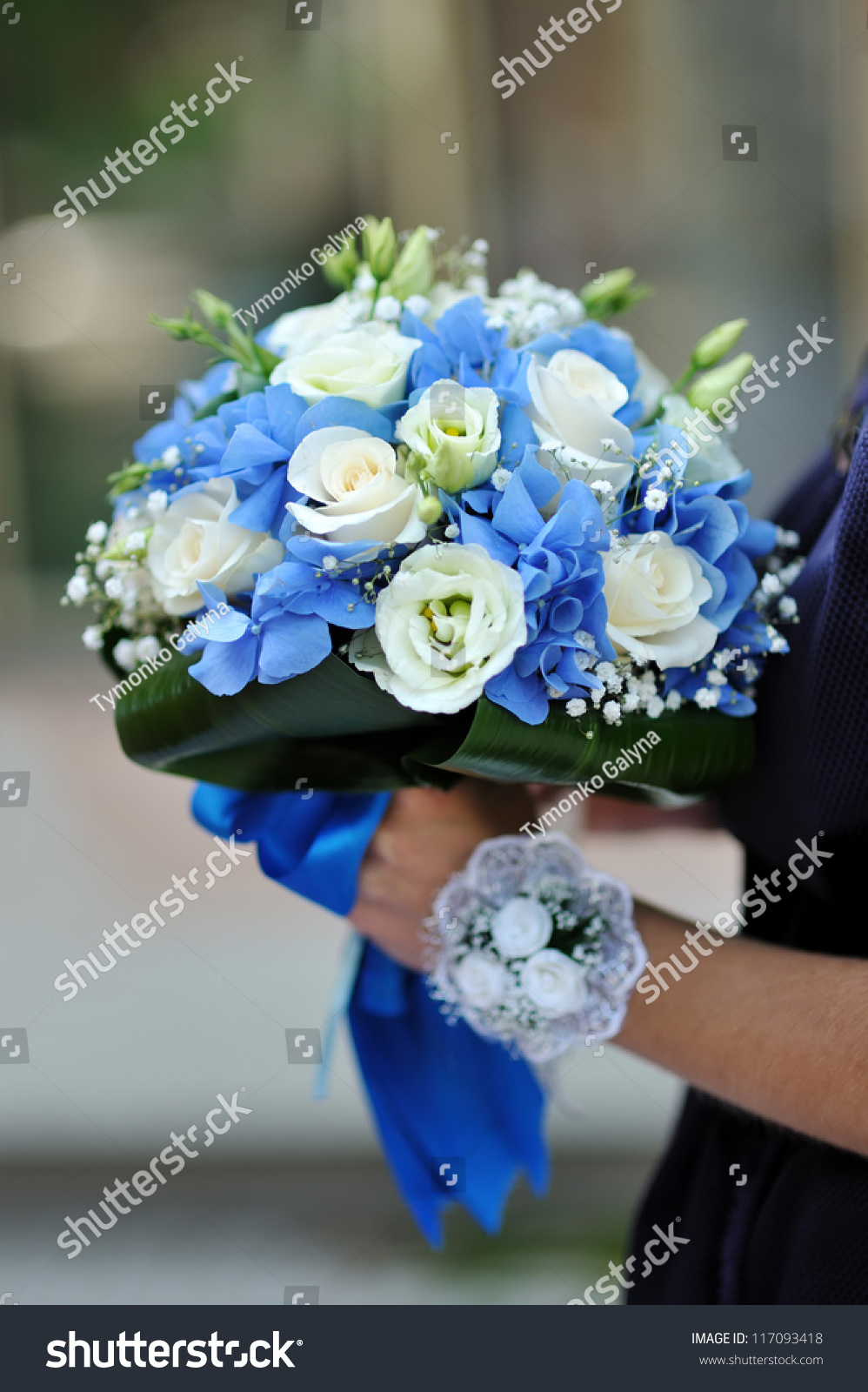 Beautiful Blue White Fresh Flowers Wedding Stock Photo