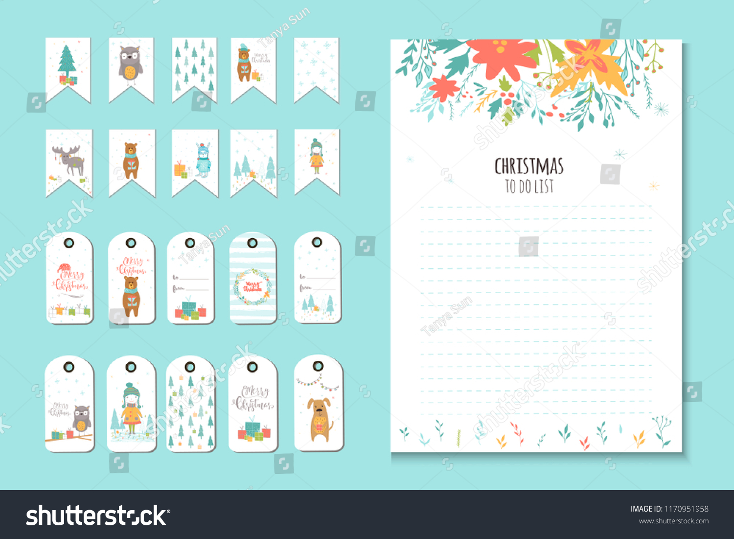 christmas holiday do lists planner cute stock illustration