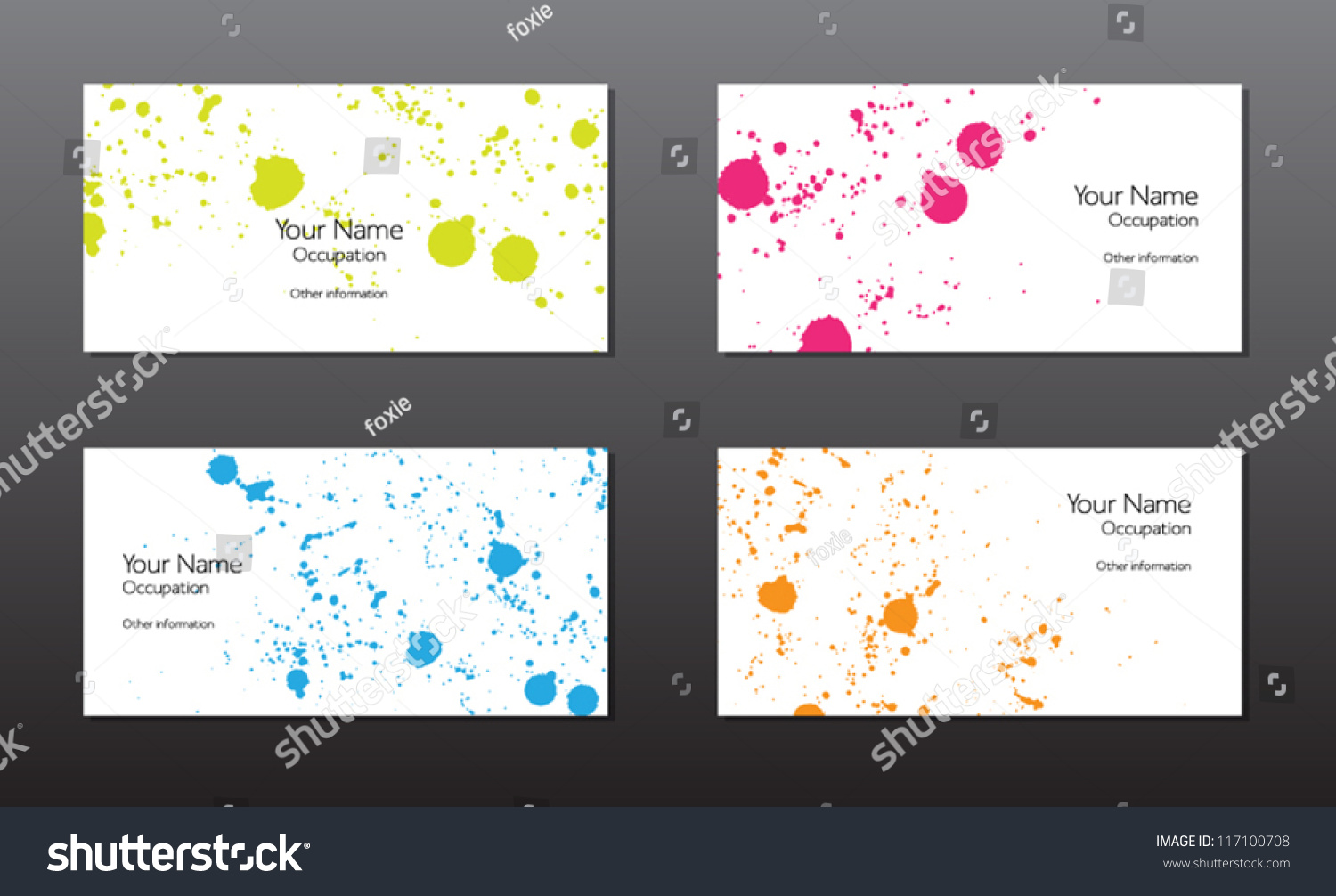 Four Vector Business Cards Template Colorful Stock Vector 117100708 ...