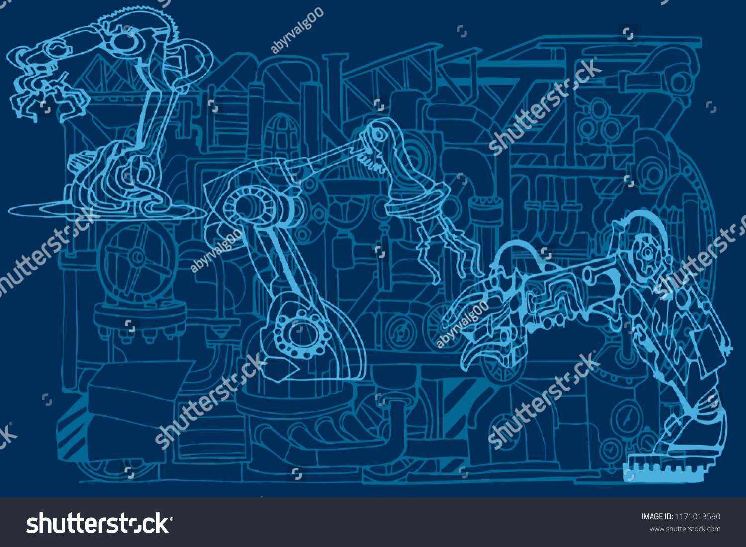 Vector Background Featuring Abstract Industry Robotics Stock Vector