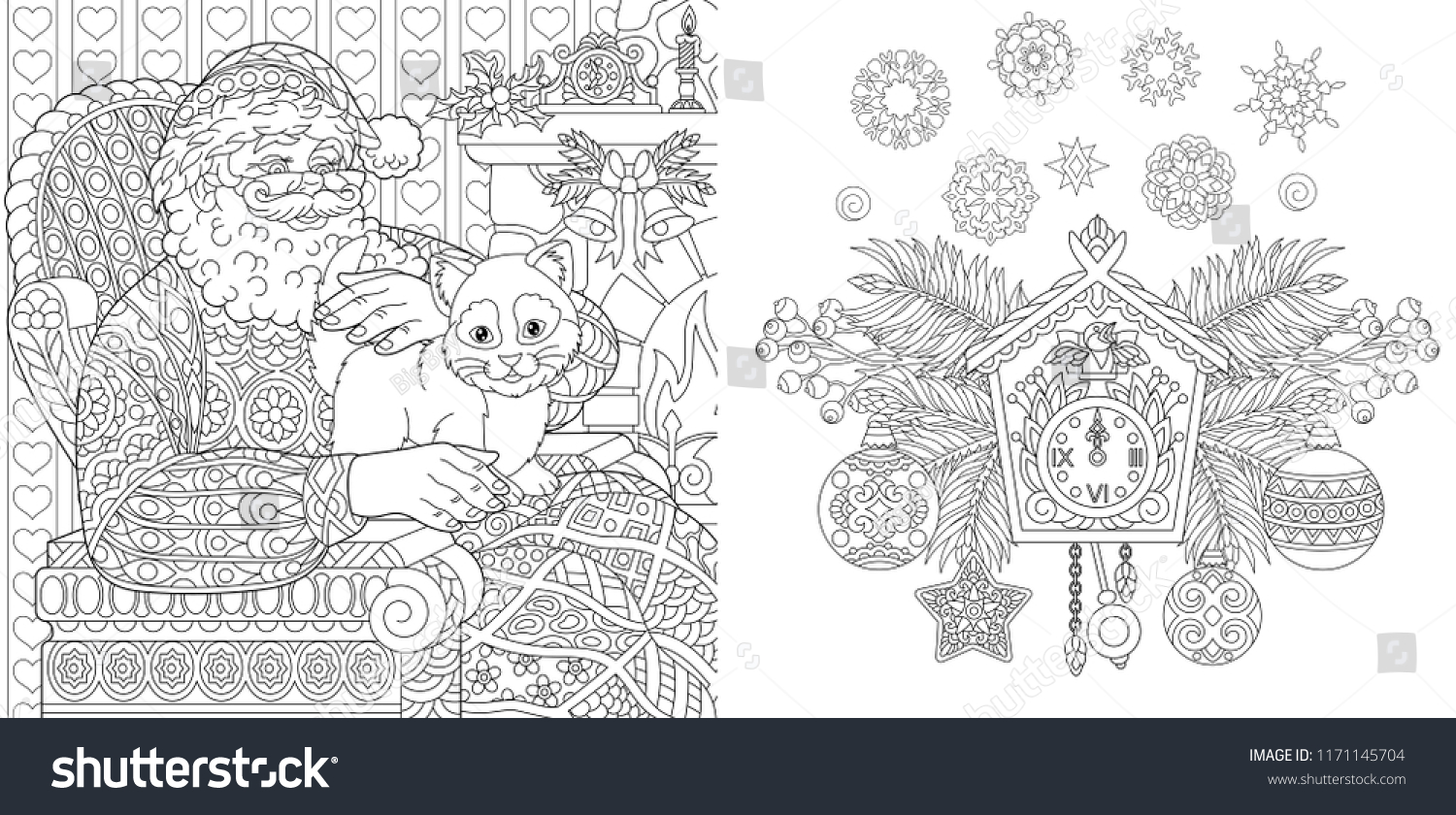 christmas coloring book christmas colouring pages santa claus with a cat in vintage style