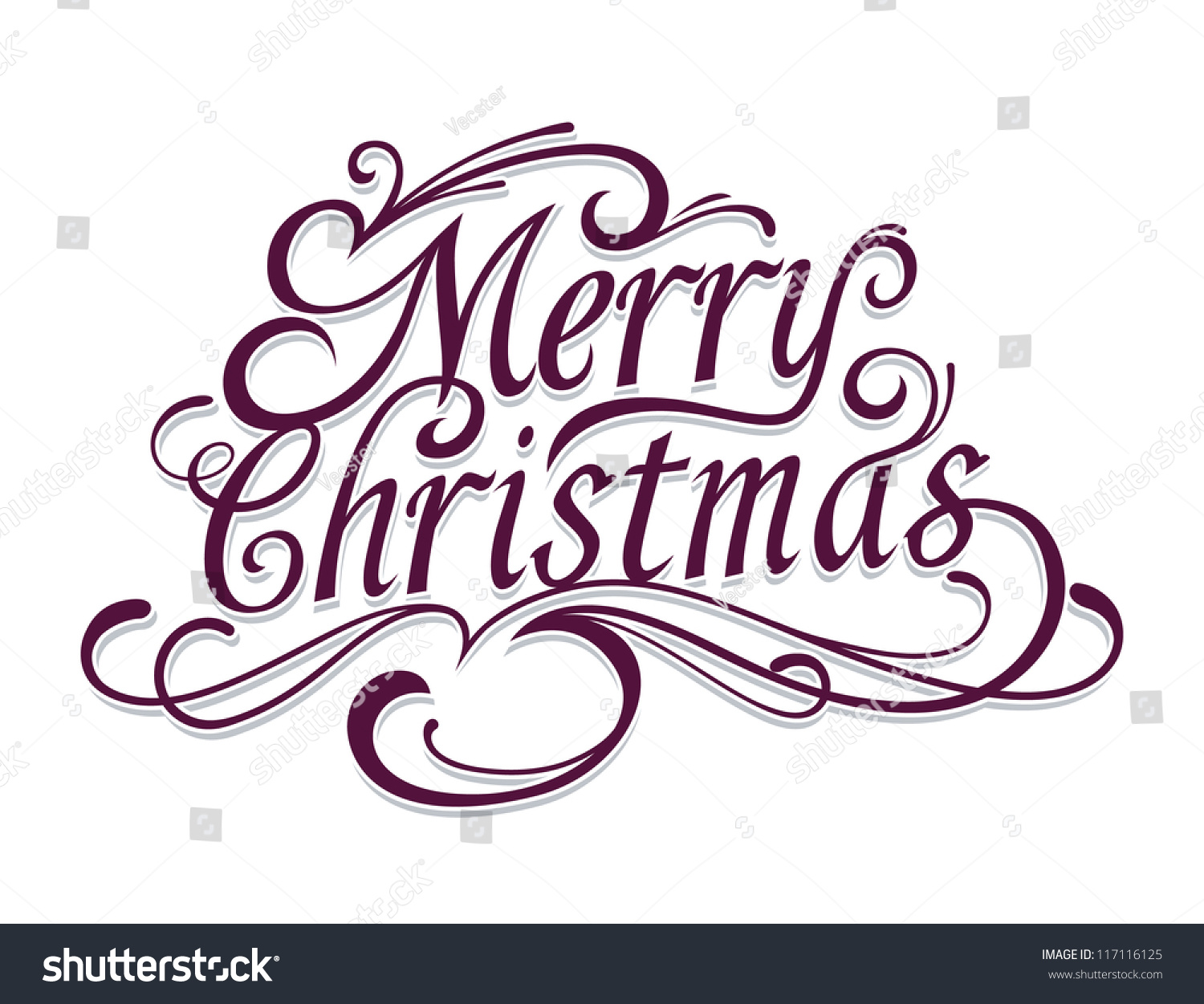 Merry Christmas Vector Calligraphic Lettering Stock Vector