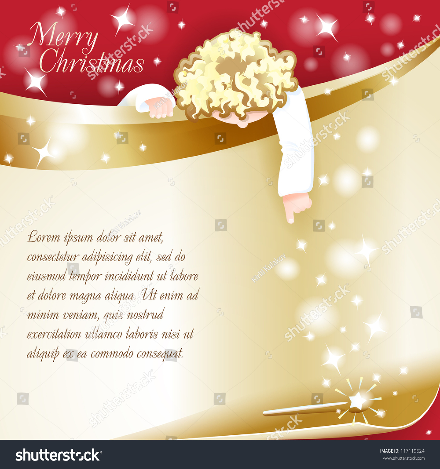 new year theme christmas card with an angel grouped for easy editing perfect