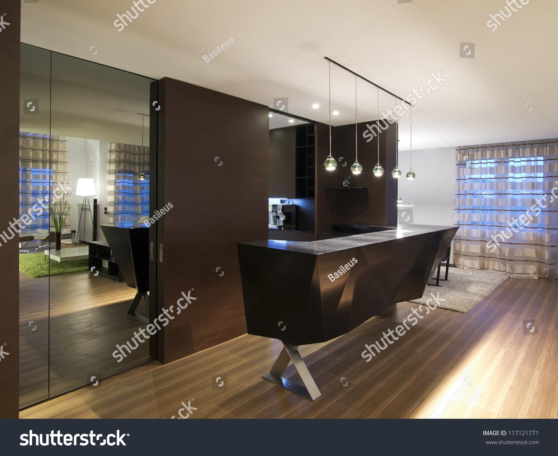 Modern House Bar Kitchen Stock Photo (Royalty Free) 117121771 ...