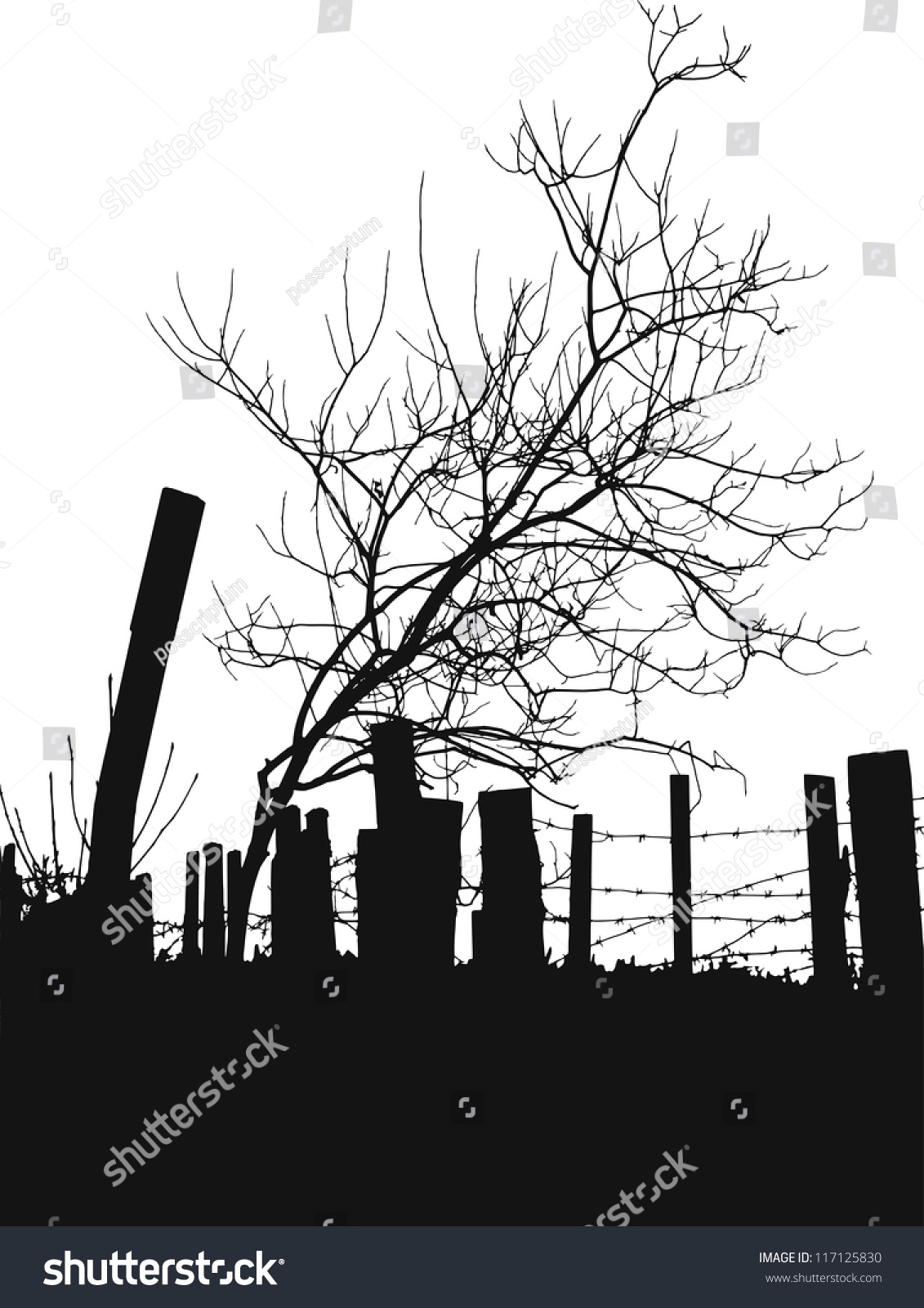 Tree Silhouette Against Fence Barbed Wire Stock Vector 117125830 ...