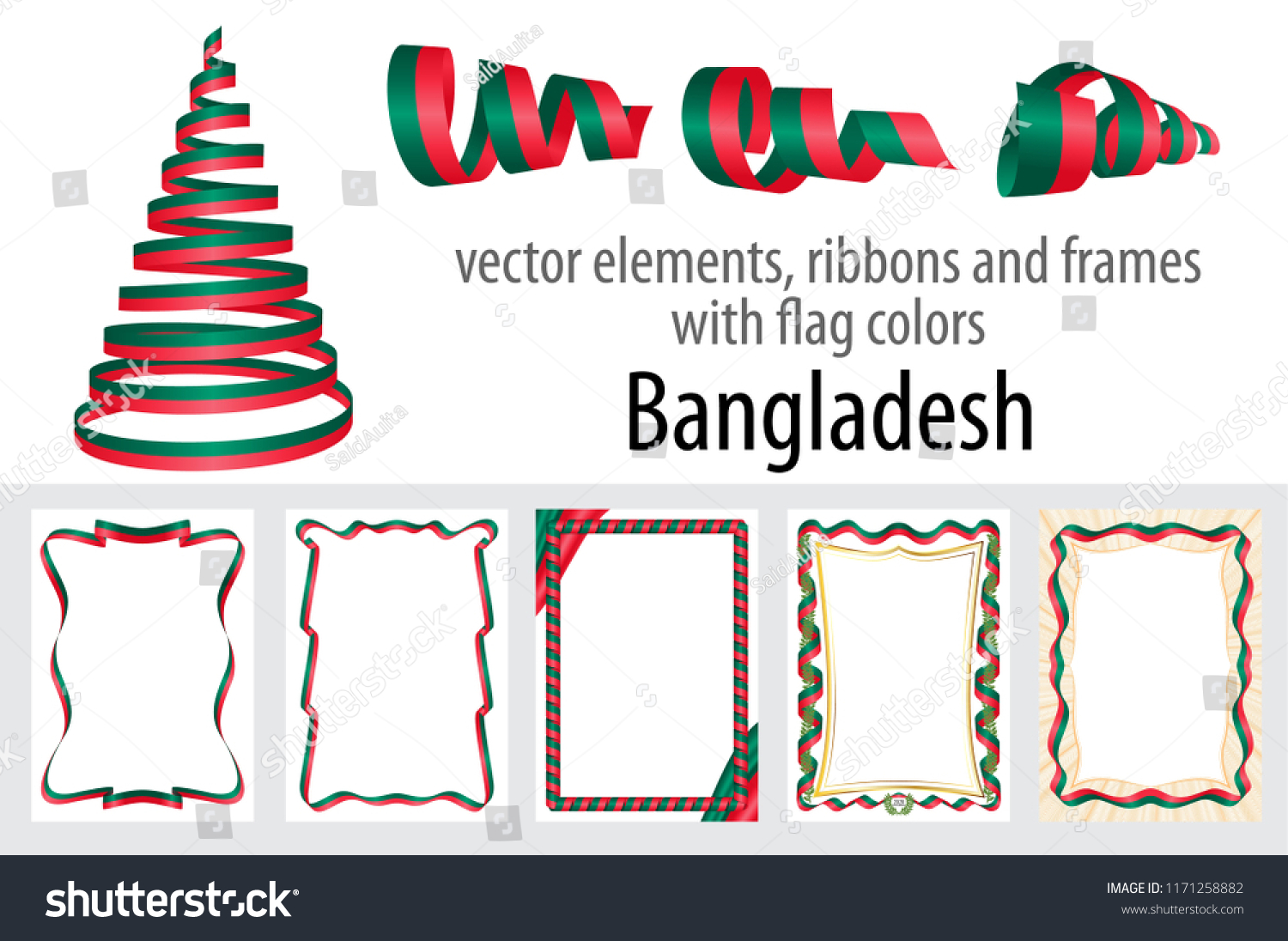 vector elements ribbons frames flag colors stock vector royalty