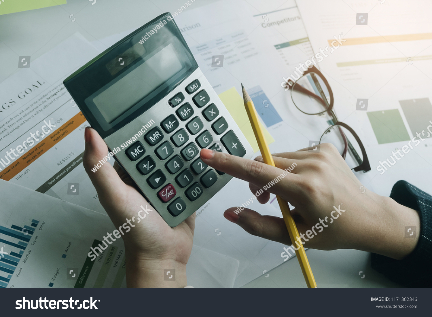 Close Business Woman Using Calculator Do Stock Photo (Edit