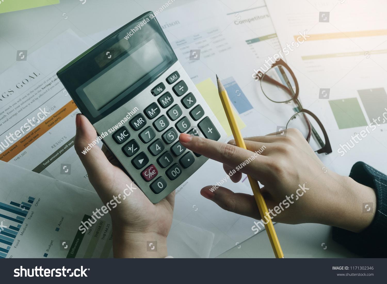 Close Business Woman Using Calculator Do Stock Photo (Edit