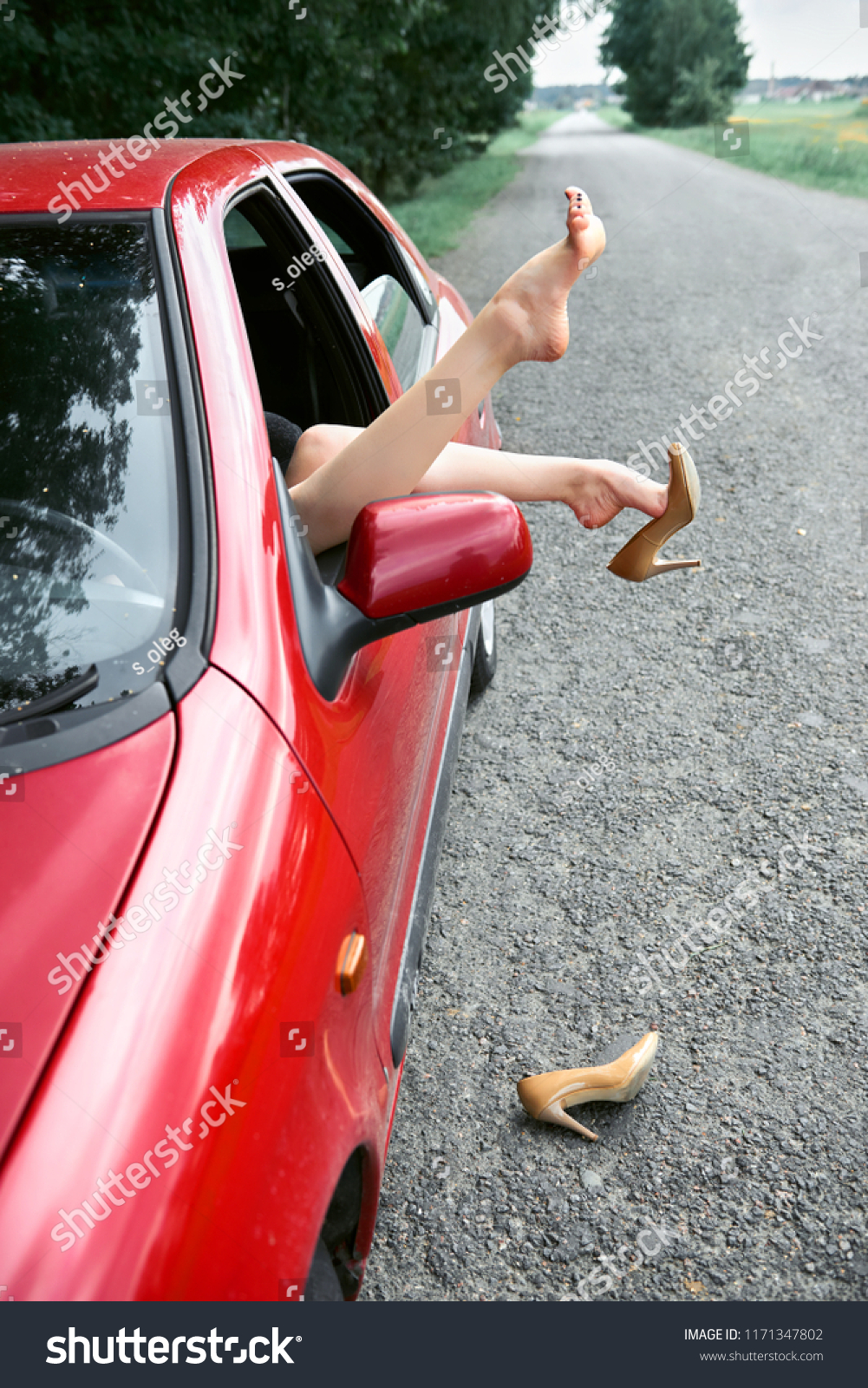 f9a8ddbce0b Young Woman Driver Resting Red Car Stock Photo (Edit Now) 1171347802 ...