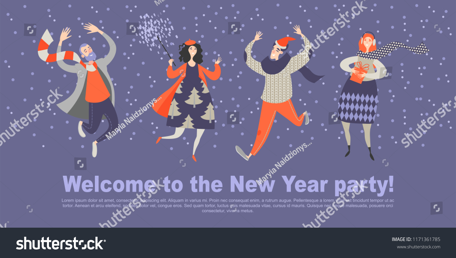 Invitation Card New Year Party Four Stock Vector Royalty Free