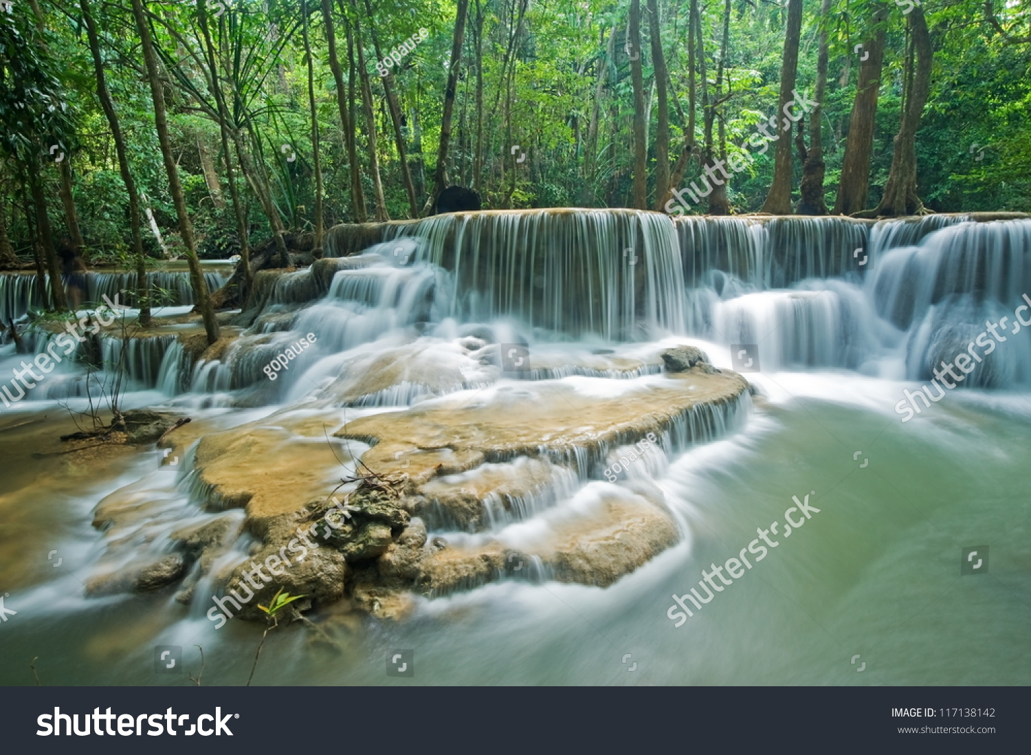 Huay Mae Kamin Waterfall In Sri Nakarin Dam National Park ...