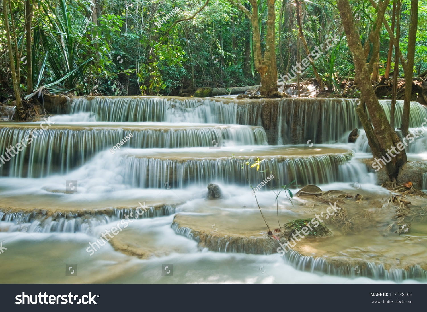 Huay Mae Kamin Waterfall Sri Nakarin Stock Photo 117138166 ...
