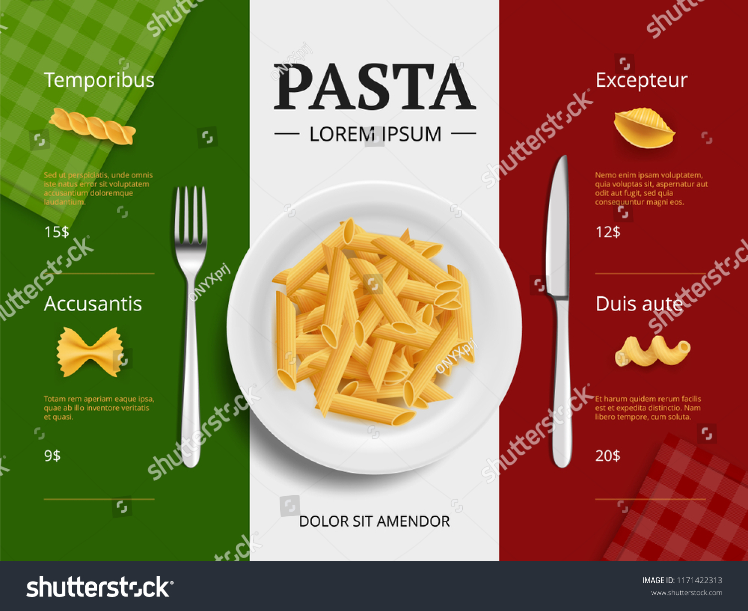 italian menu cover pasta on plate stock vector (royalty free