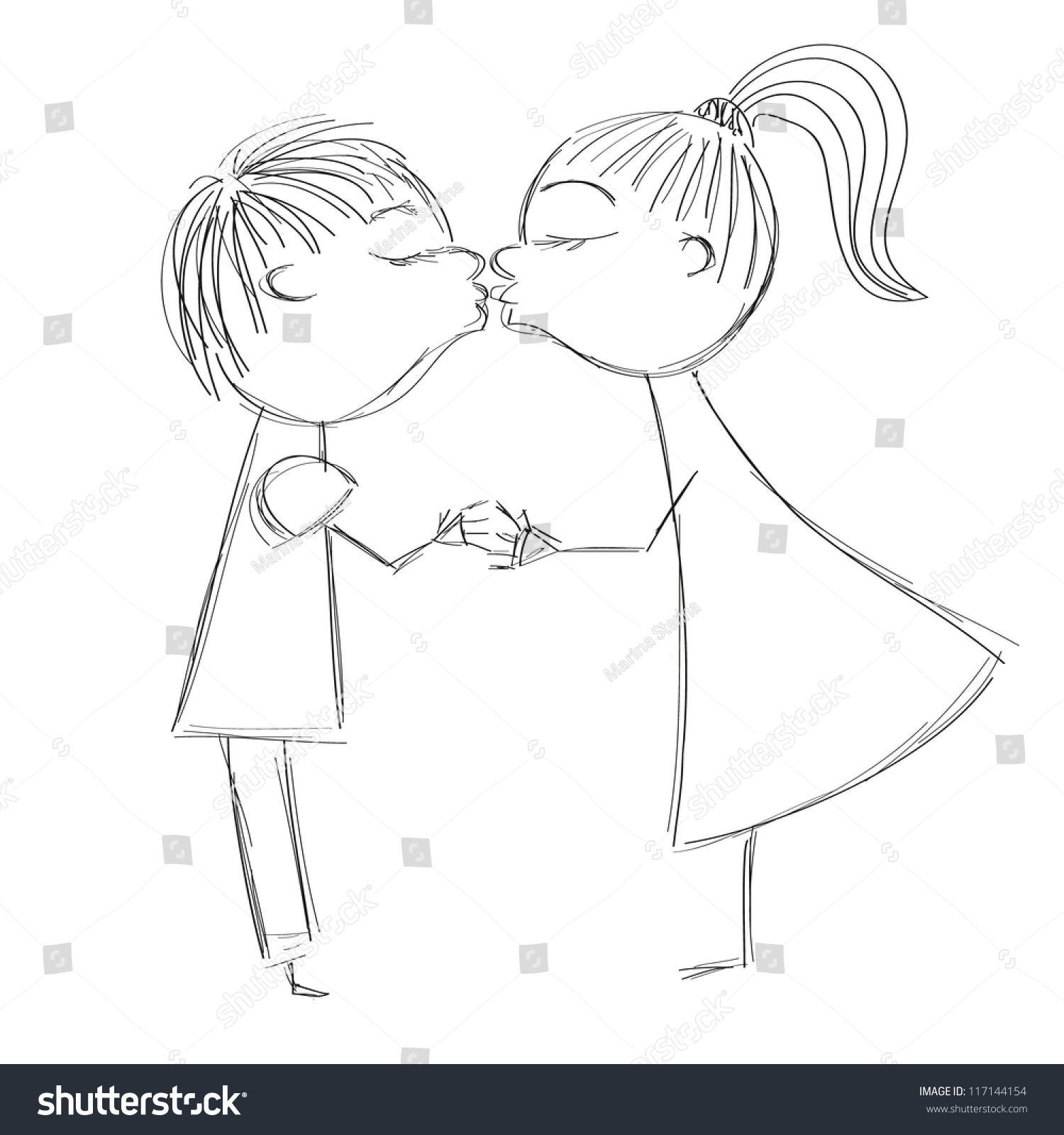 Vector Hand Drawing Illustration Boy Girl Stock Vector Royalty Free