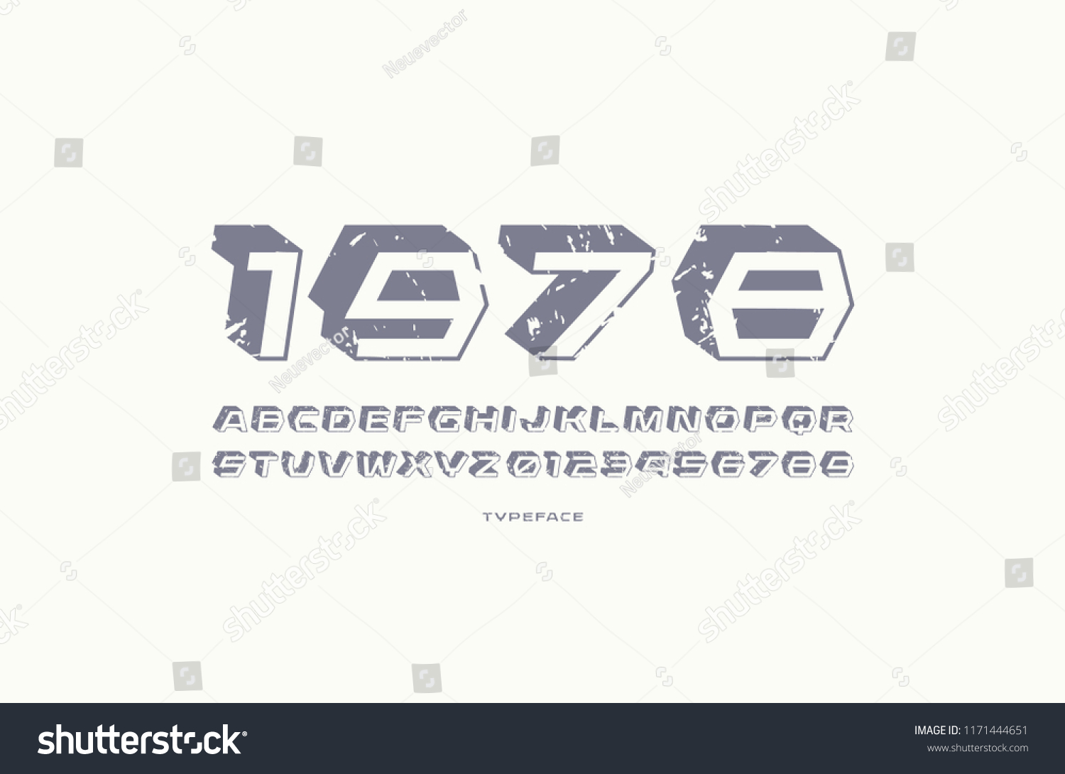 Geometric sans serif font with drop shadow letters and numbers with vintage texture for sci