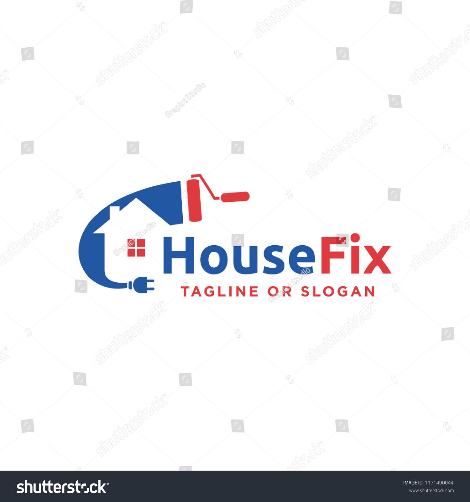 Logo Design Related House Repair Remodeling Stock Vector