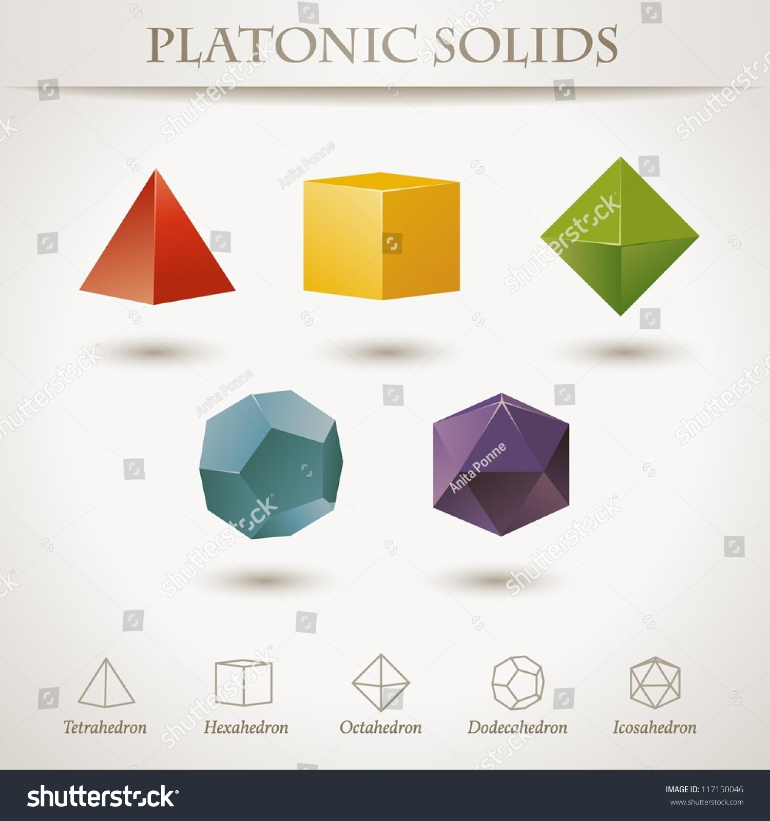 Colorful Set Geometric Shapes Platonic Solids Stock Vector Royalty