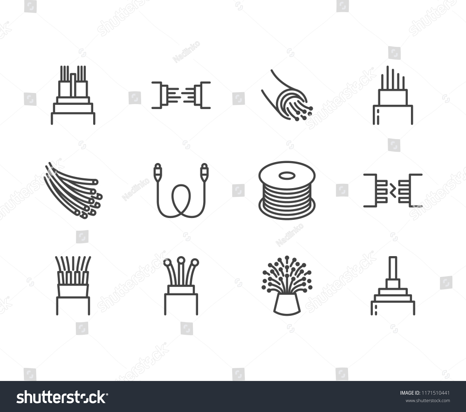 Optical Fiber Flat Line Vector Icons Stock Royalty Free Computer Wiring Diagram For Cable And Meanings Network Connection Wire Bobbin