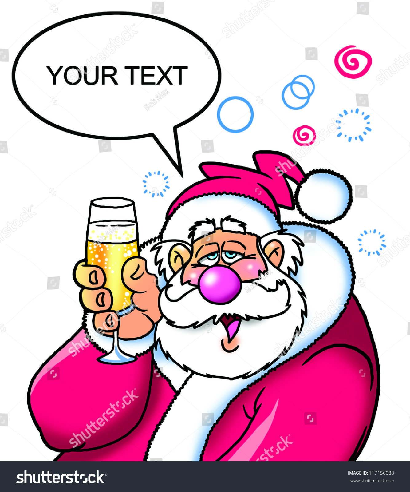 Drunk Santa Proposing Toast Glass Stock Illustration 117156088