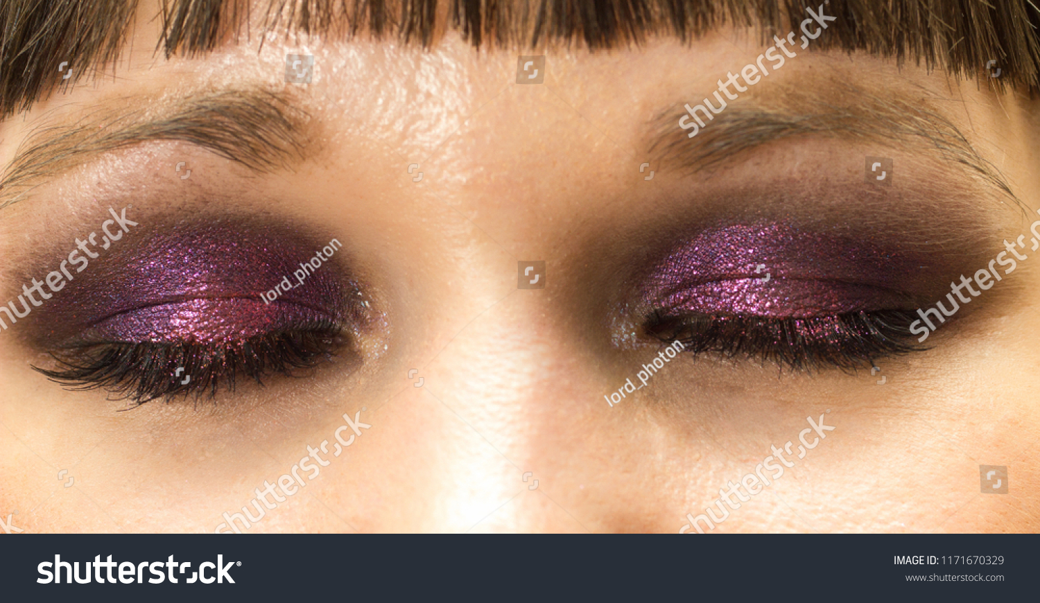 2019 year for lady- Makeup eye purple close up photo