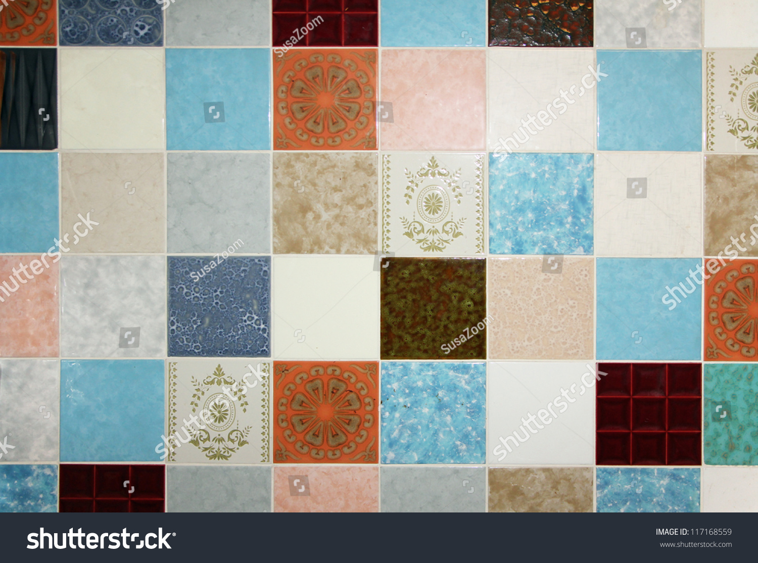 Background Motley Wall Tiles Mixed All Stock Photo 117168559 ...