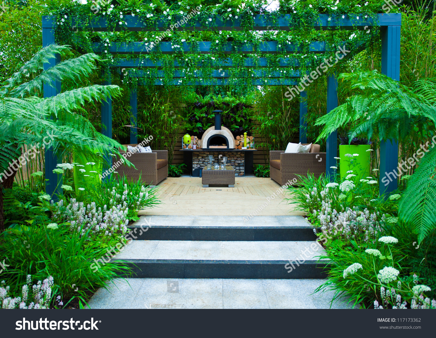 Tranquil Garden Patio Area Stock Photo 117173362