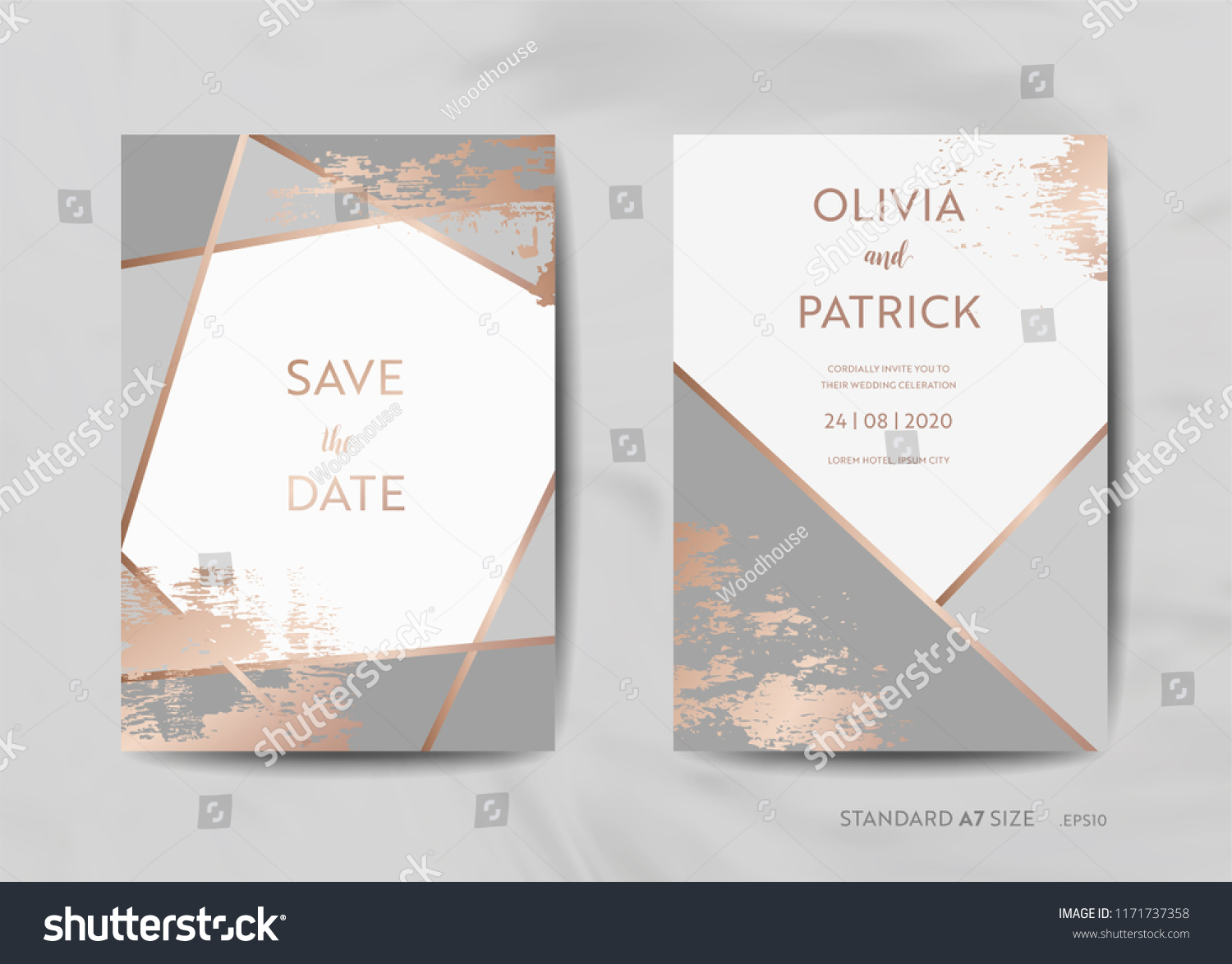 db75fe154ddc5 Wedding Invitation Cards Collection Save Date Stock Vector (Royalty ...