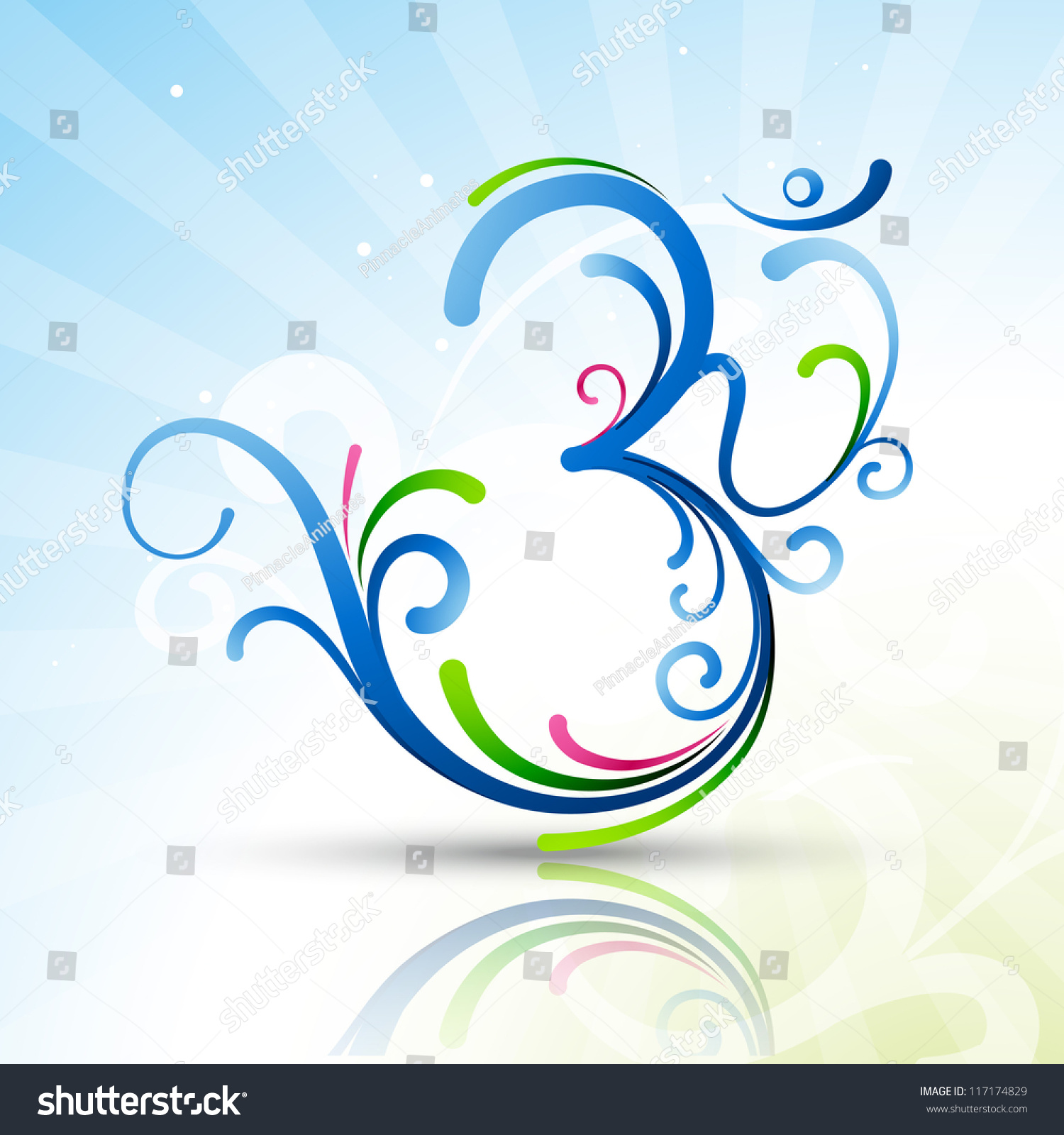 Beautiful Artistic Vector Om Symbol Design 117174829