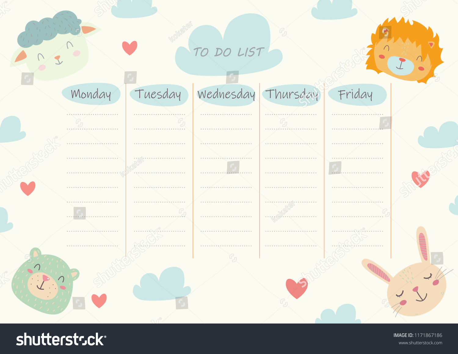 do list sheet kids cute funny stock vector royalty free 1171867186