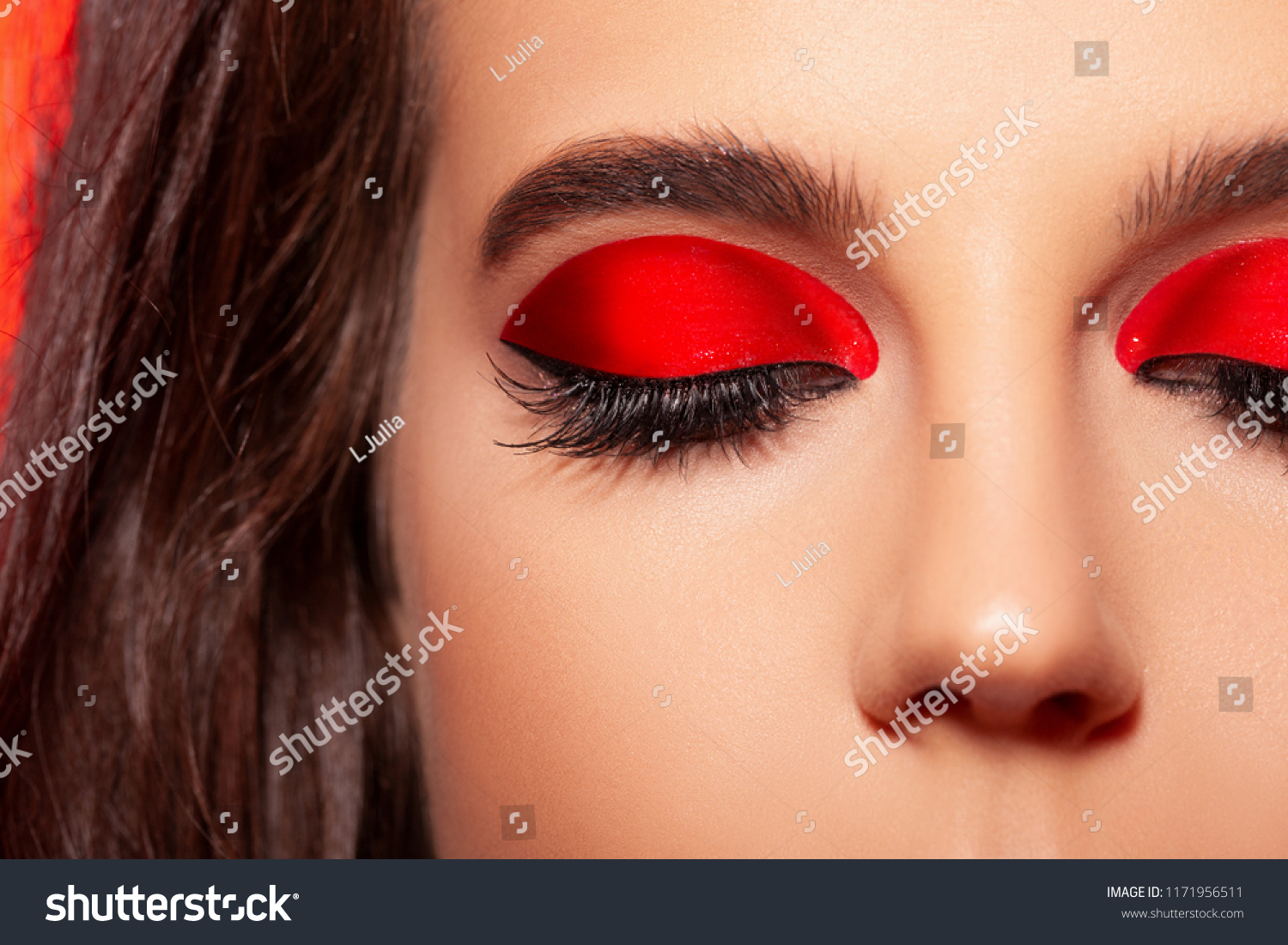 Close Fashion Makeup Beautiful Red Shimmer Stock Photo Edit Now 1171956511