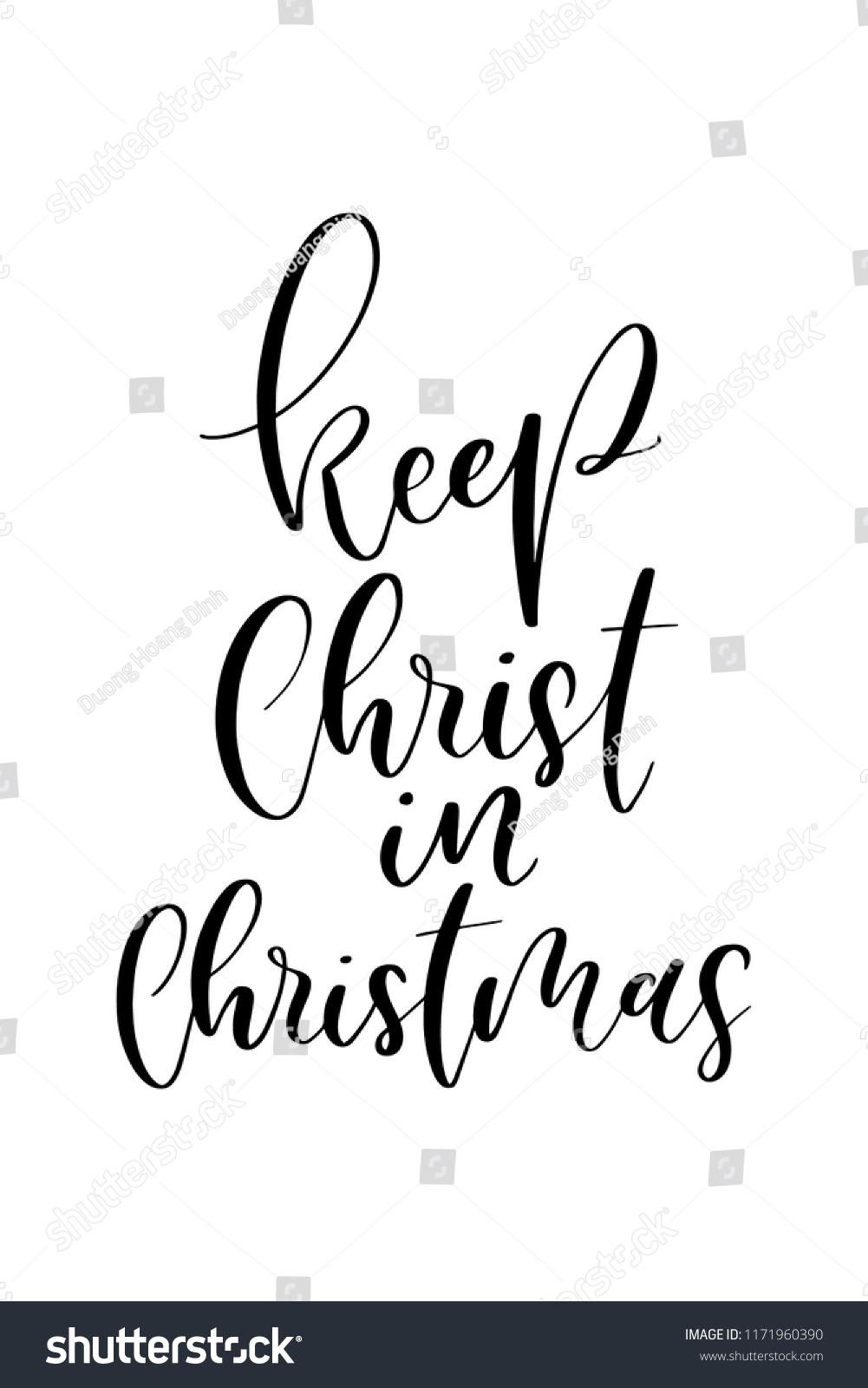 Christmas Greeting Card Brush Calligraphy Vector Stock Vector ...
