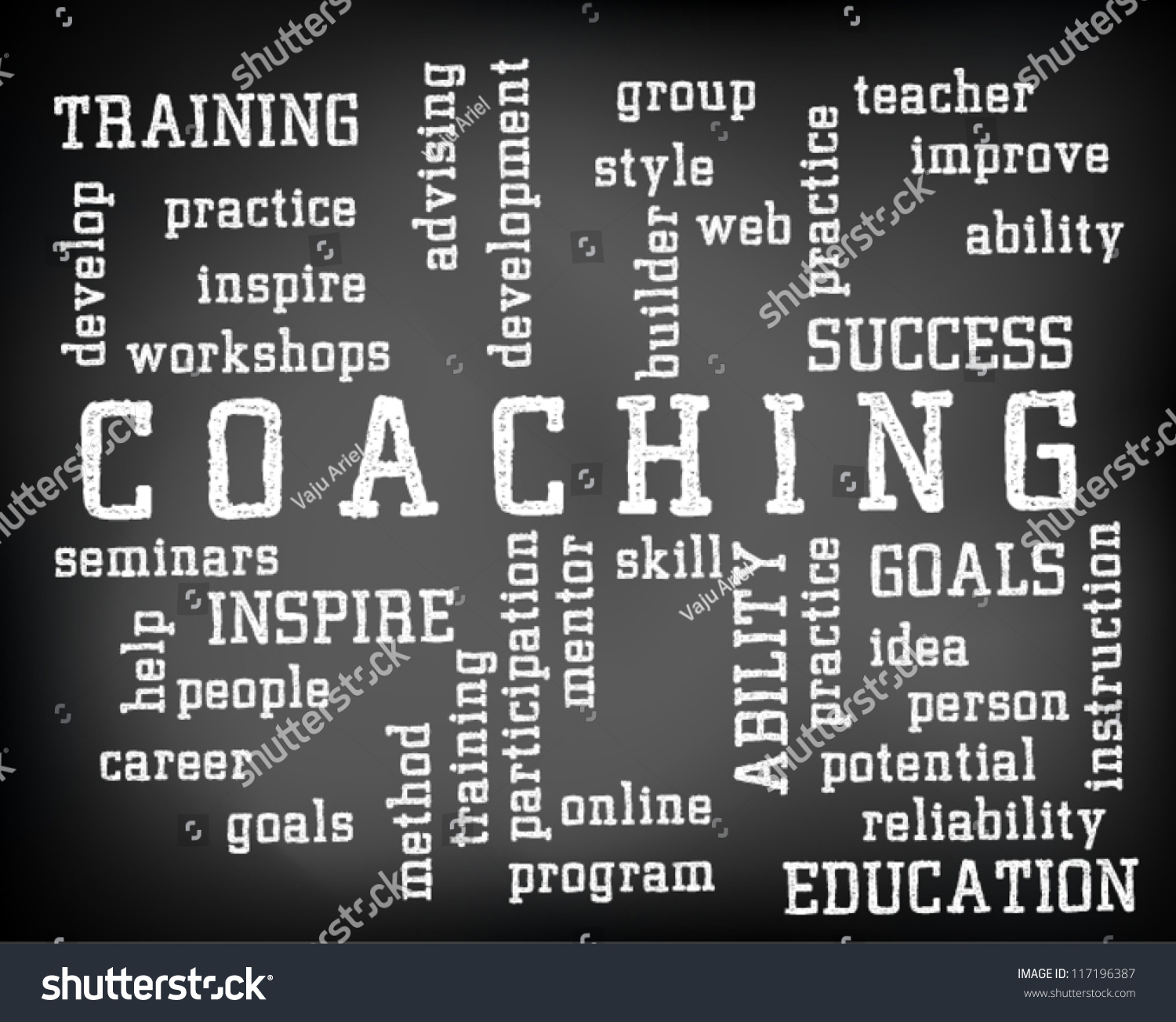 conceptual coaching word cloud written on stock vector 117196387