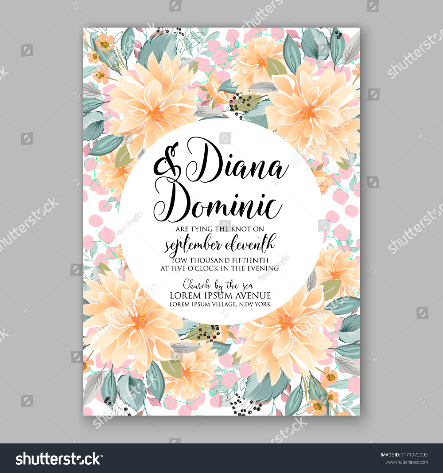 Floral Background Wedding Invitation Baby Shower Stock Image