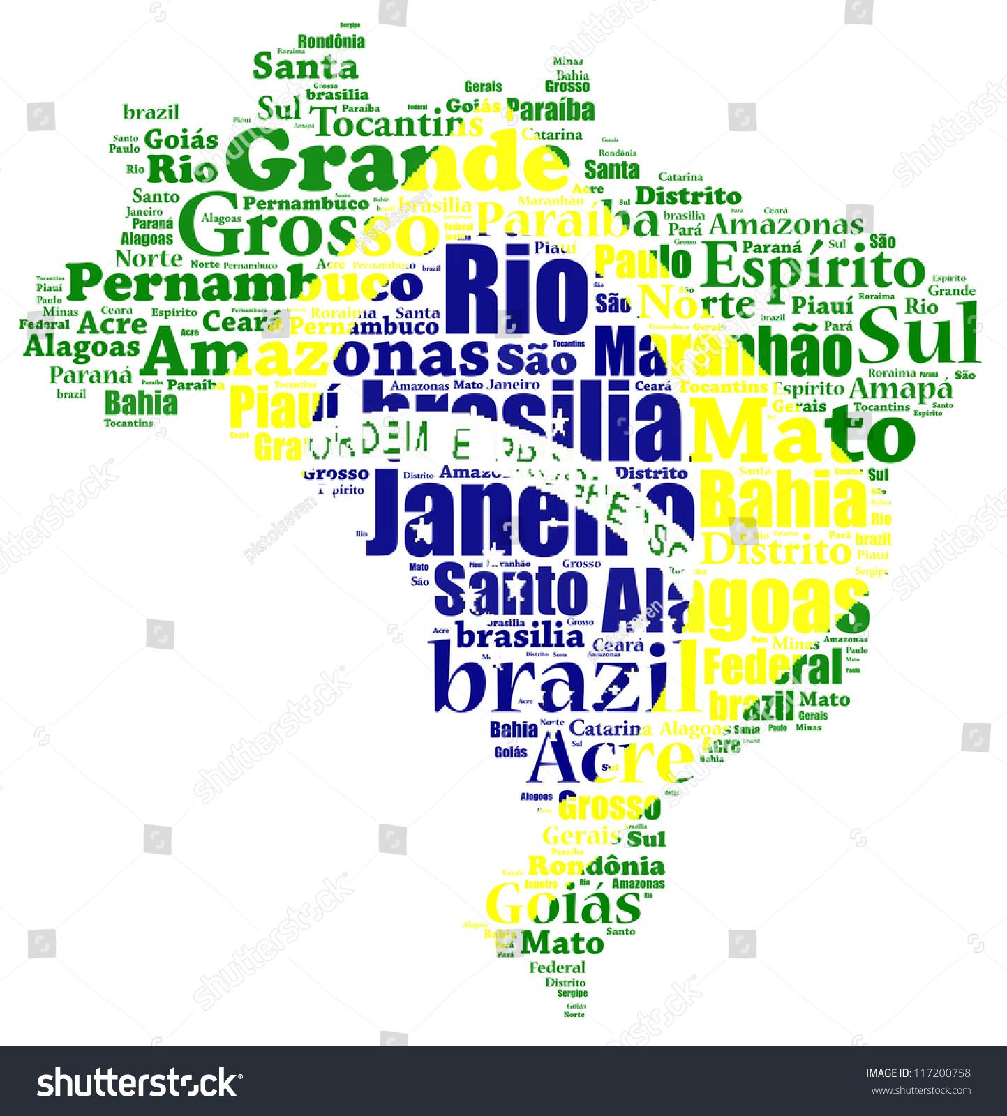 Brazil Map Words Cloud Larger Cities Stockillustration 117200758