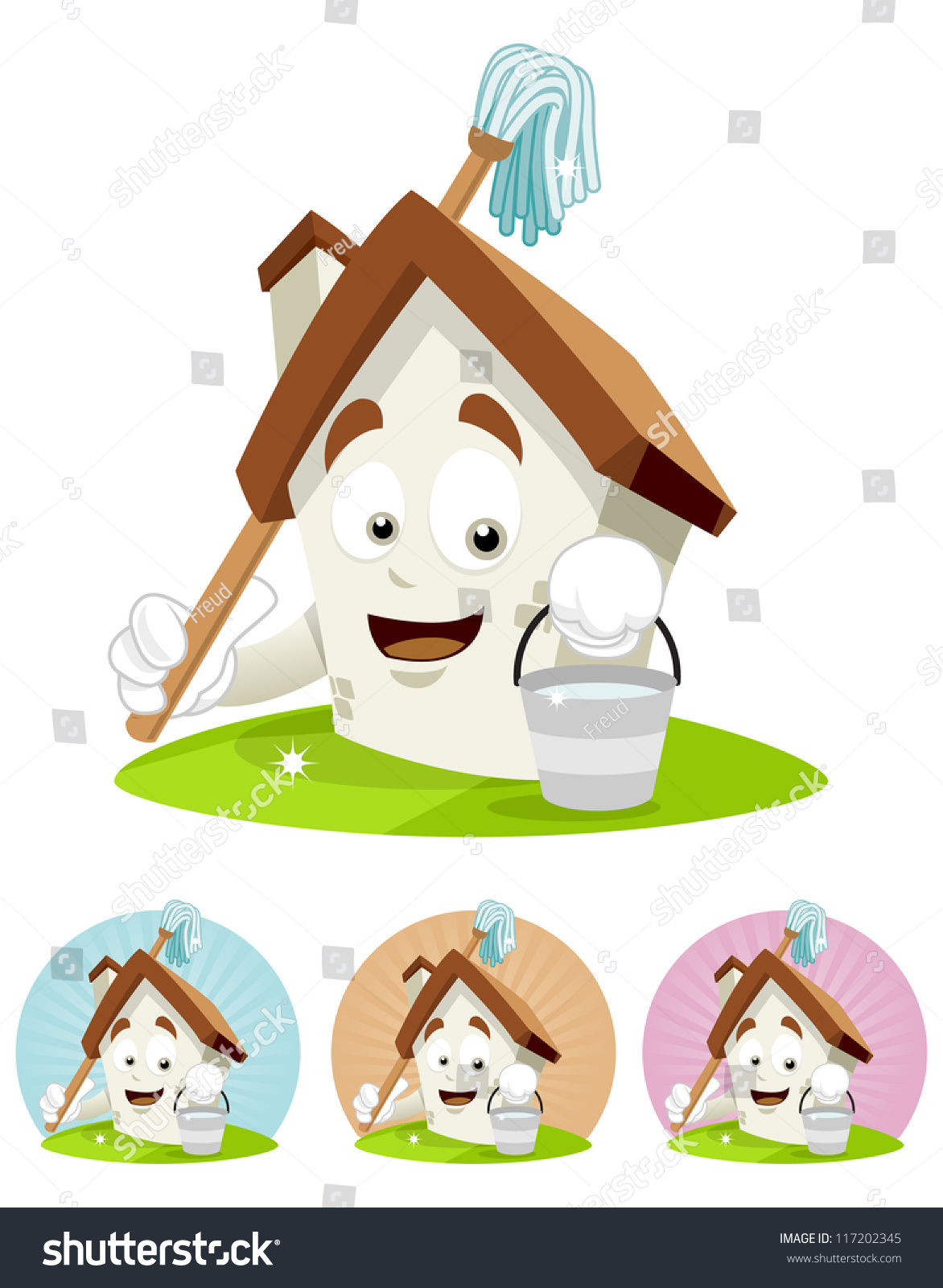 Cartoon Characters Houses : House cartoon character illustration cleaning stock