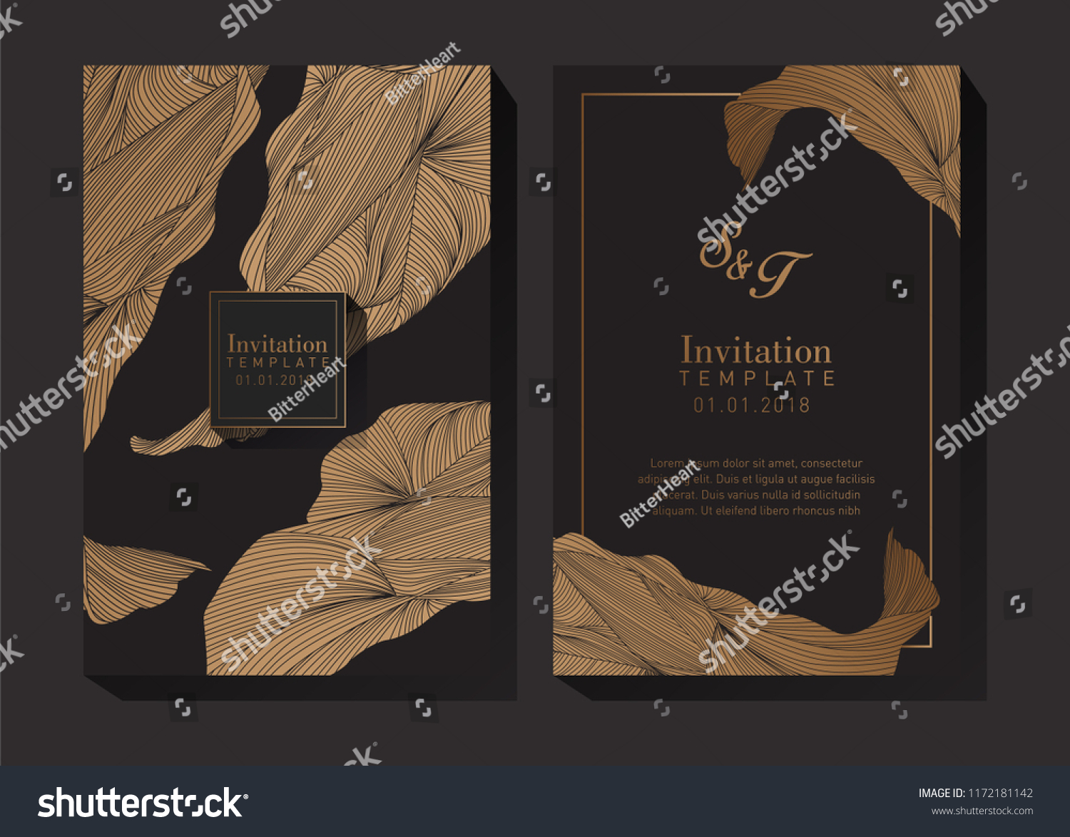 black gold invitation template stock vector royalty free